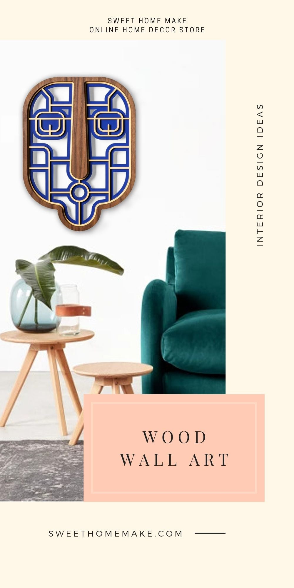 Blue Wall Decor with Wood Wall Art