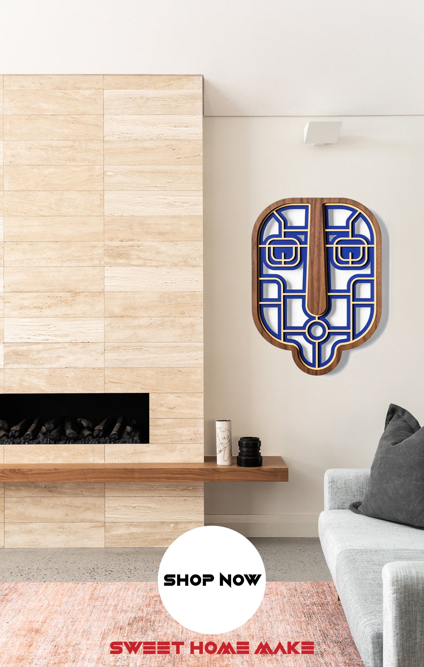 Blue Wood Wall Art at the Living Room Wall Decor