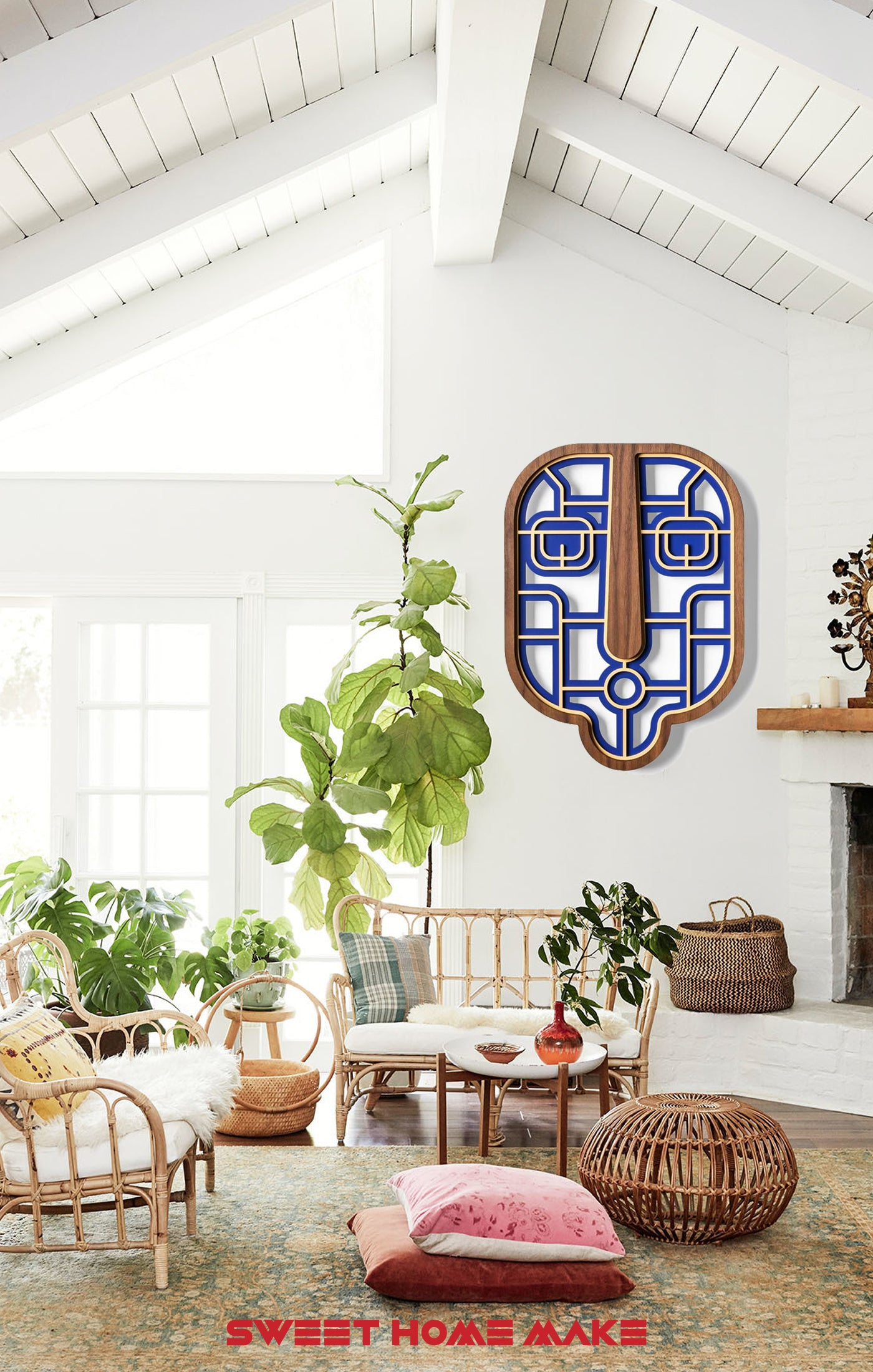 Blue and Geometric Wood Wall Art at the Boho Living Room Wall Decor