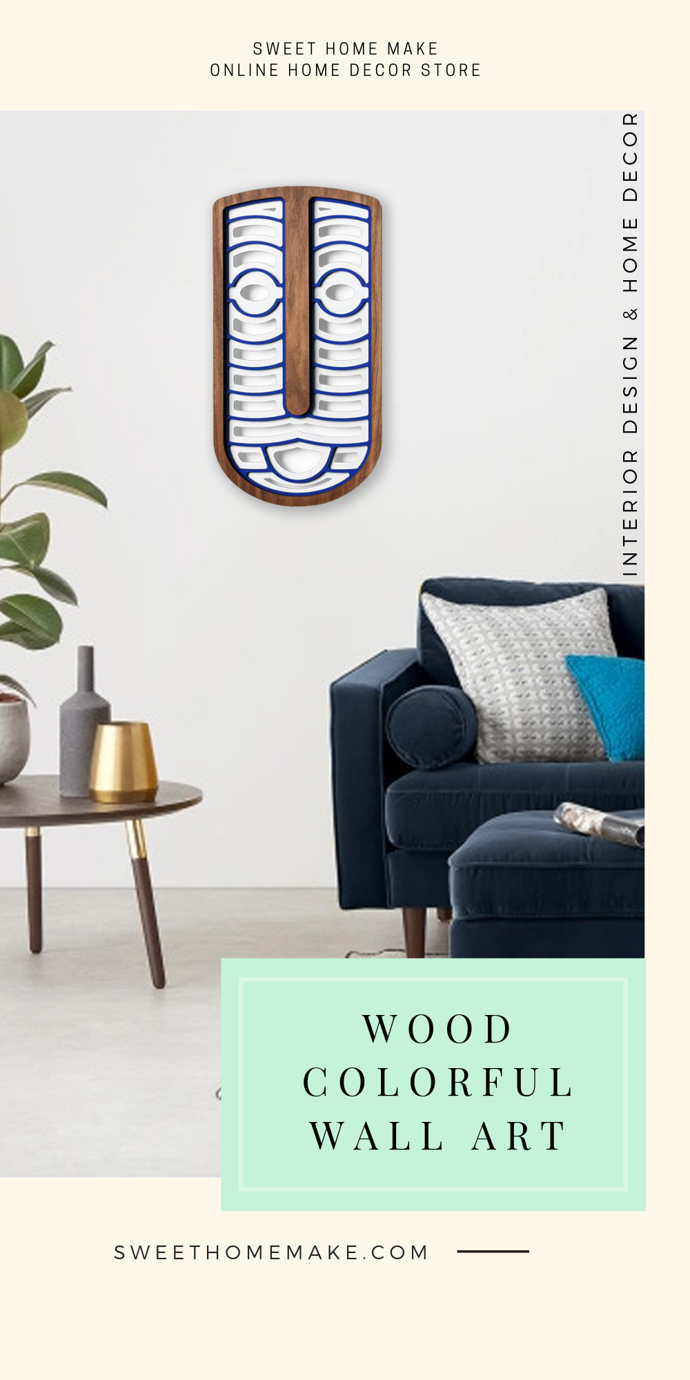 Blue and White with Wood Wall Art