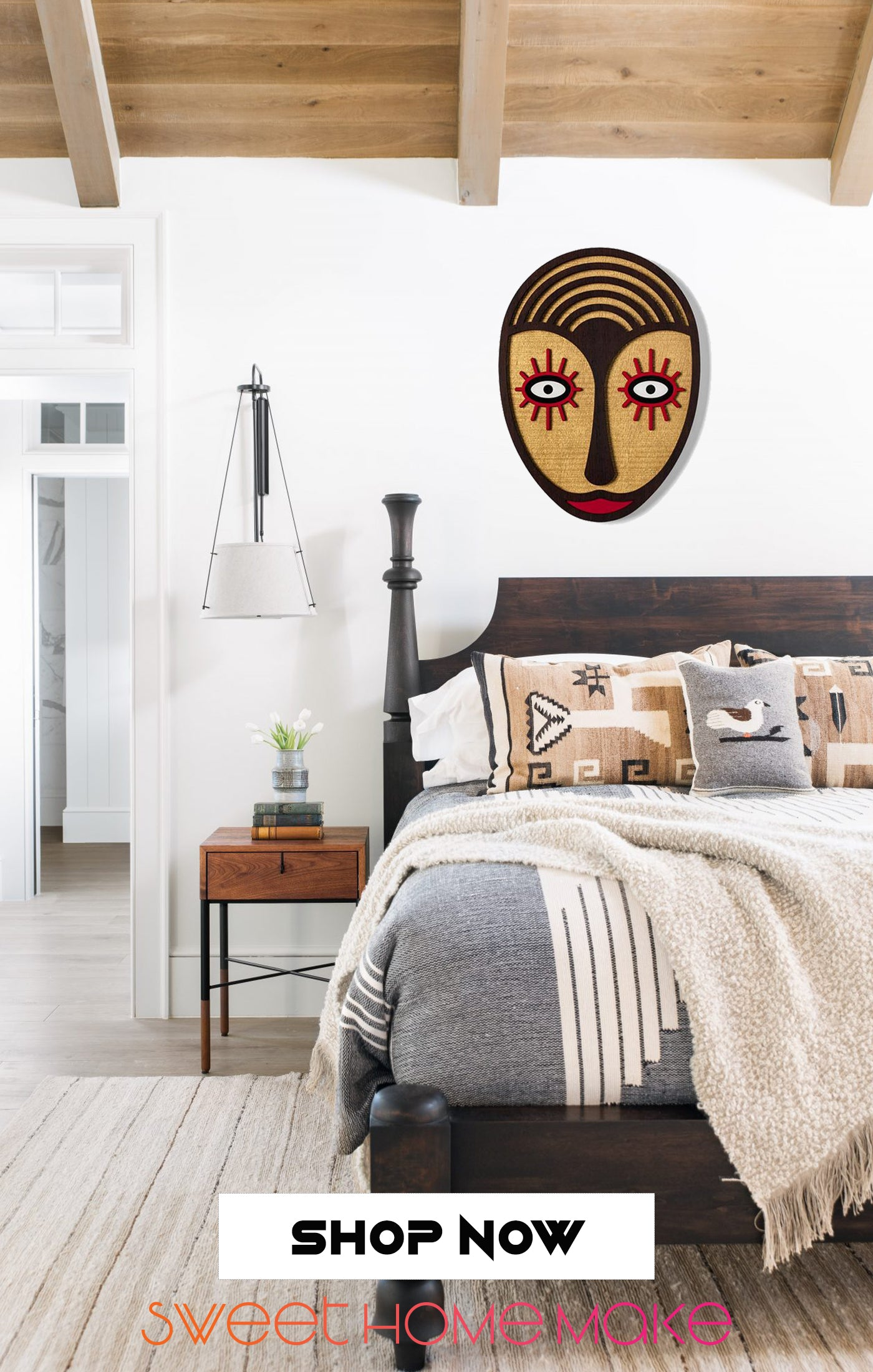 Boho Carved Wood Wall Art at the Bedroom Design