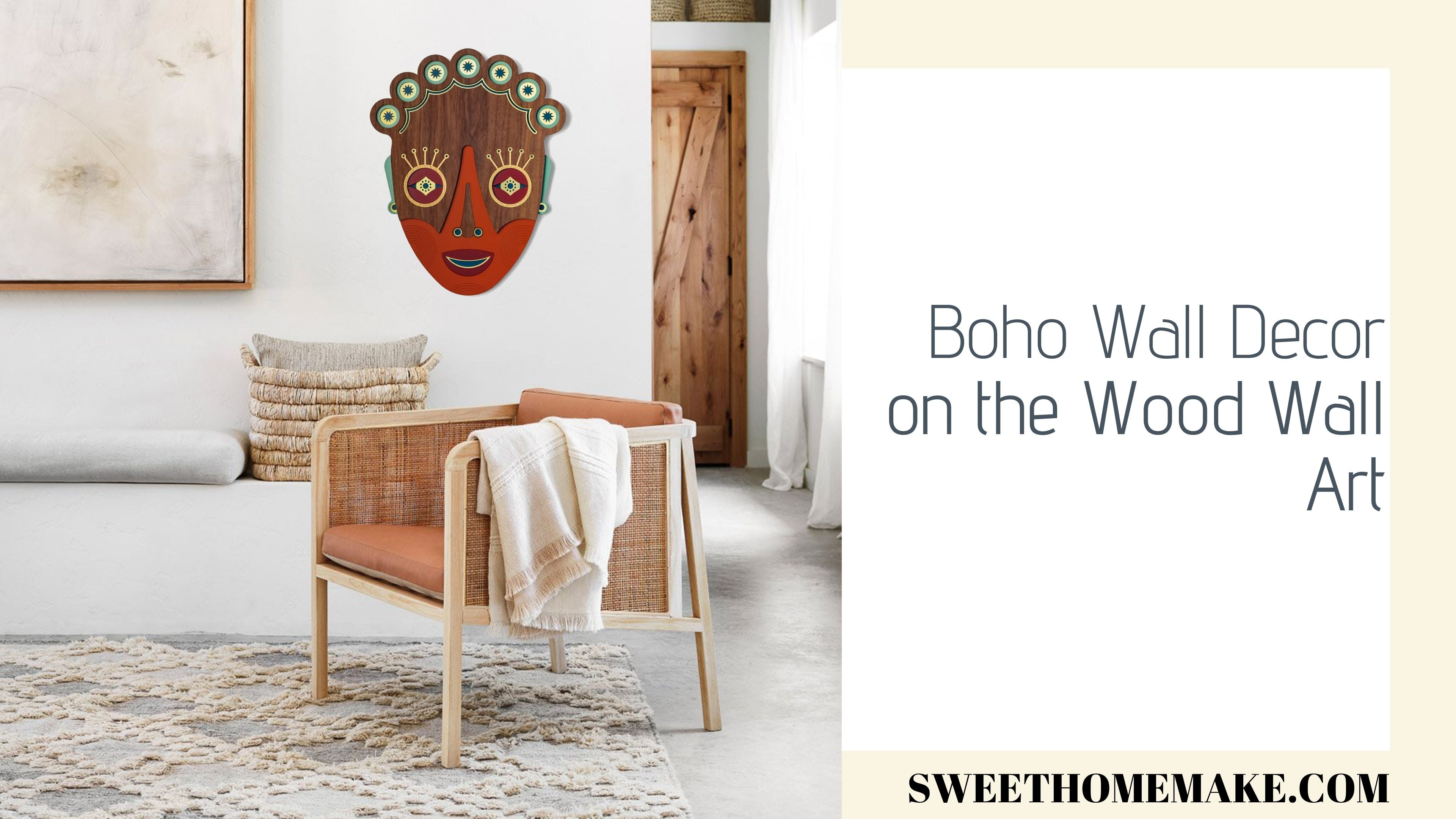Boho Wall Decor on the the Wood Wall Art Hanging Mask
