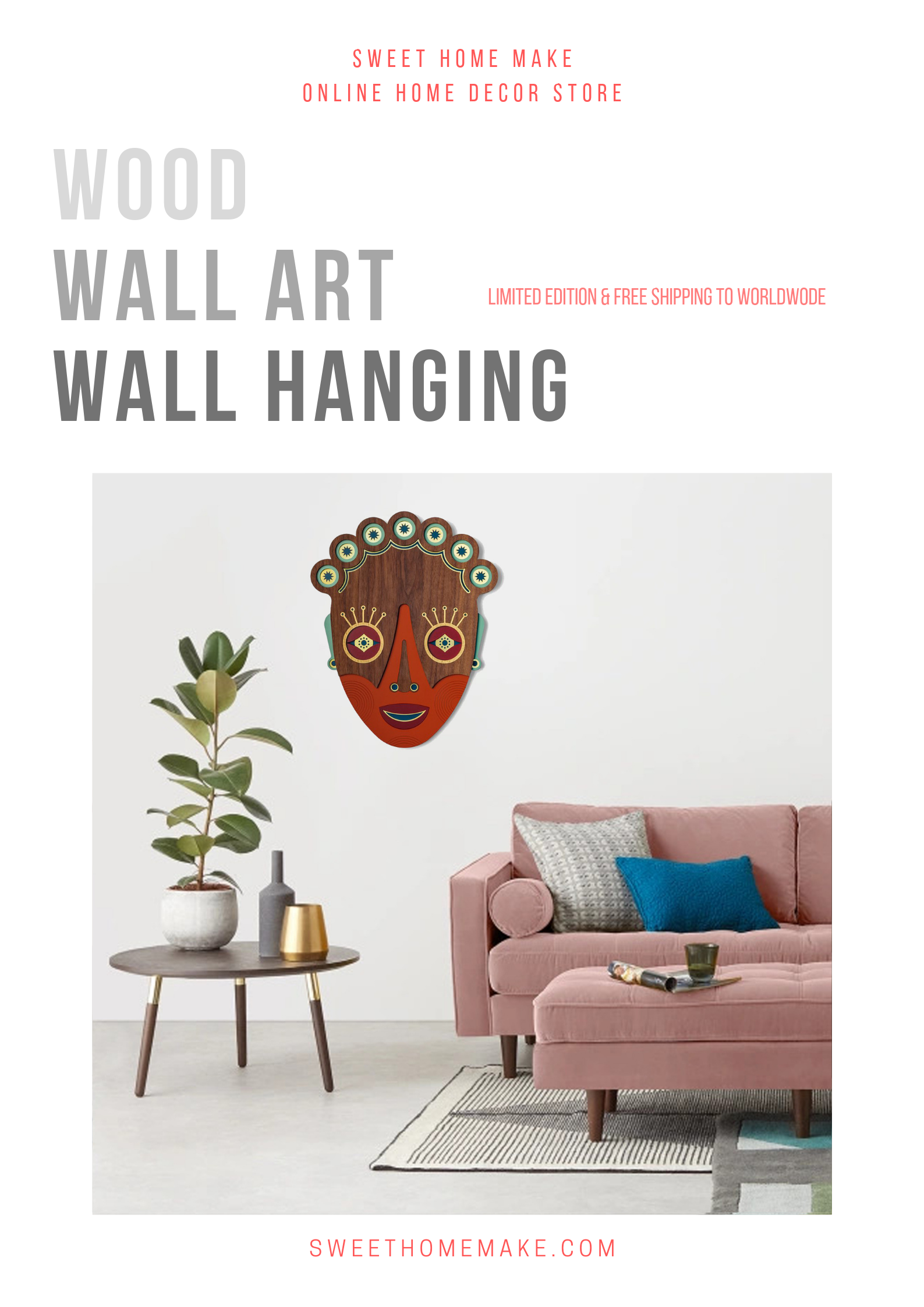 Boho Wall Decor with African Mask Wood Wall Art