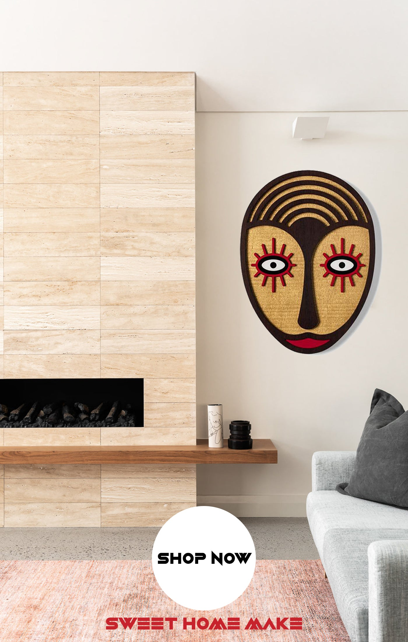 Boho Wood Wall Art at the Living Room Wall Decor