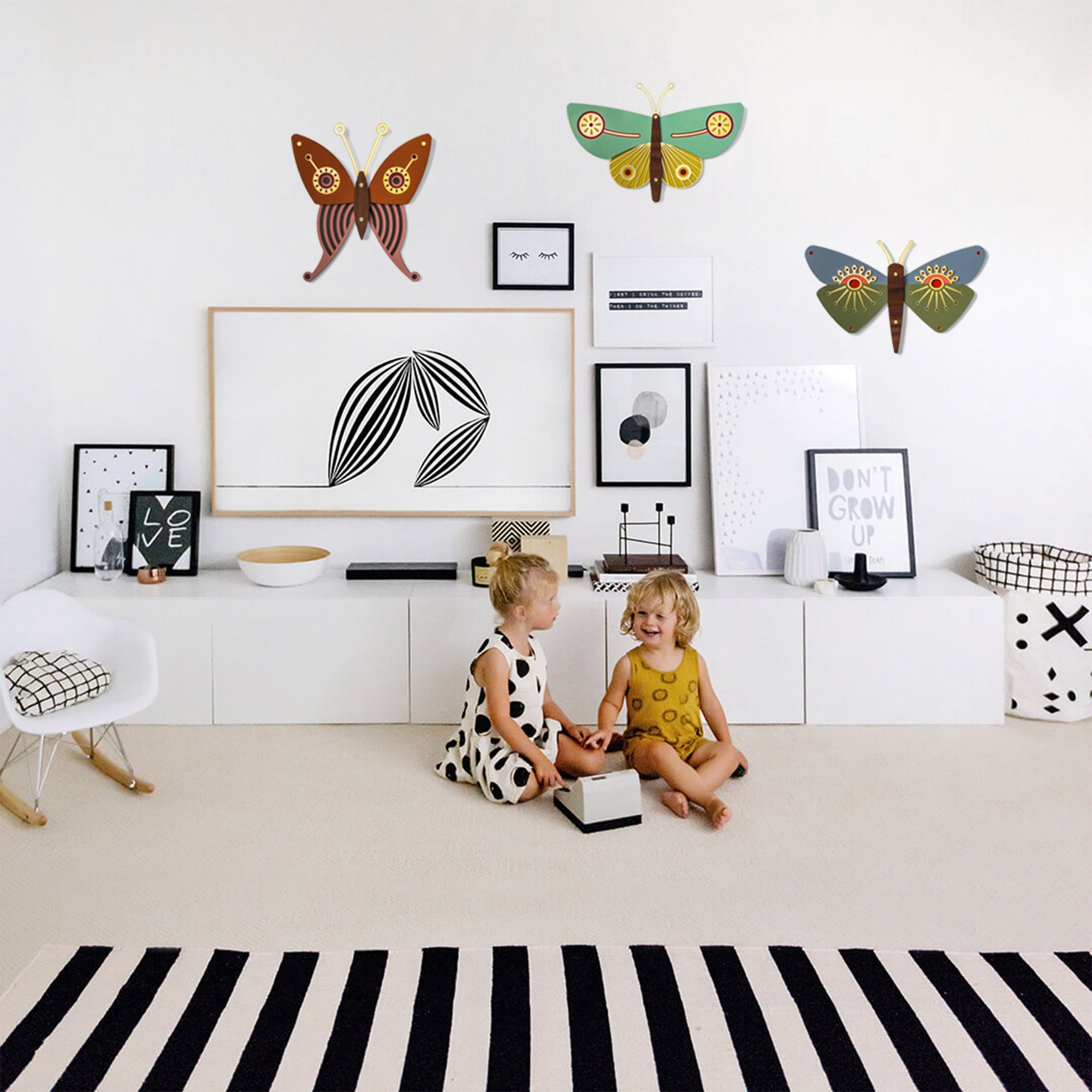 Butterfly Nursery Wall Art on the Wooden by Umasqu