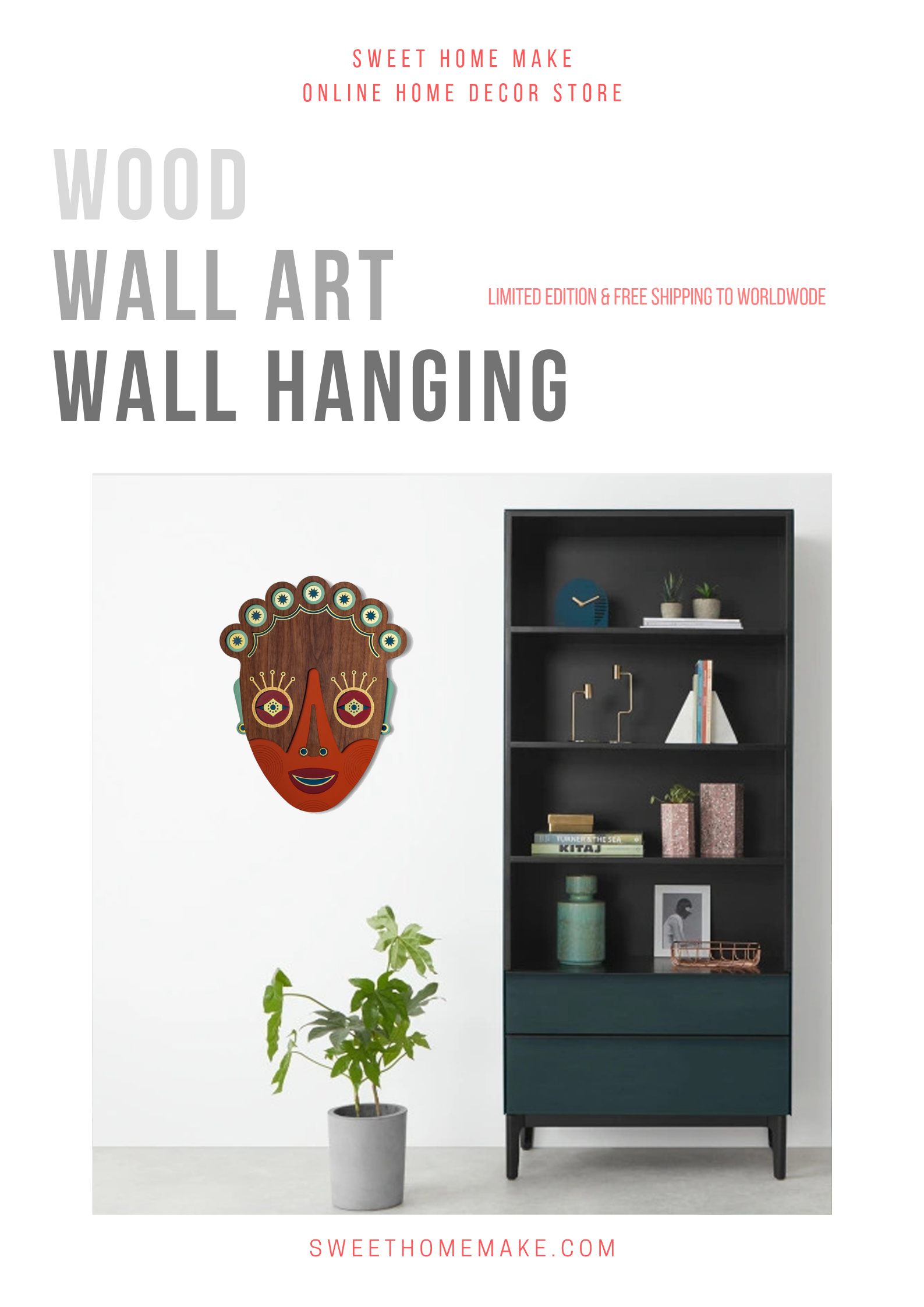 Chic Wall Decor with African Mask Wood Wall Art