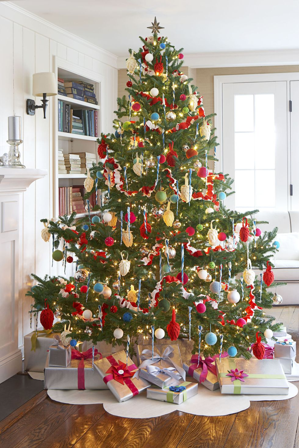 christmas tree and christmas decorations with unique christmas gifts