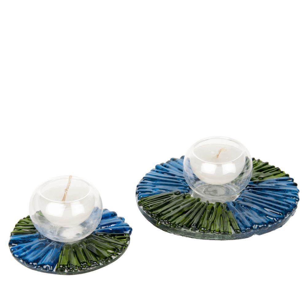 Colorful Blue and Green Hand Blown Glass Candle Holder