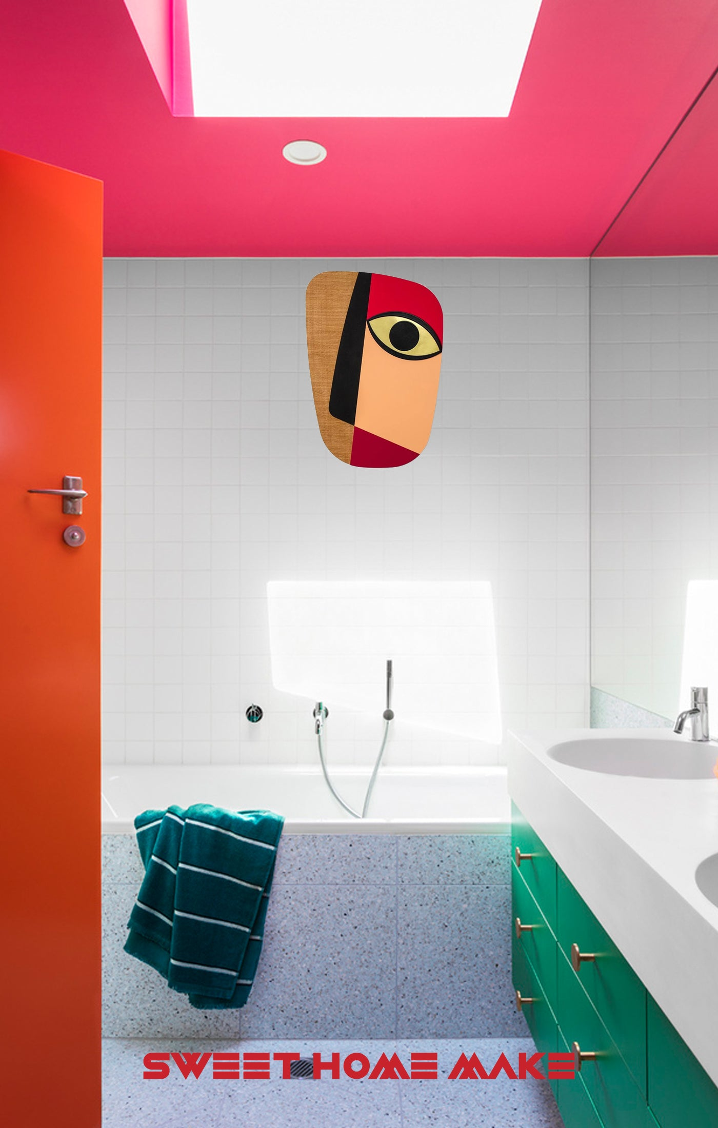Colorful and Abstract Wall Art at the Bathroom Design