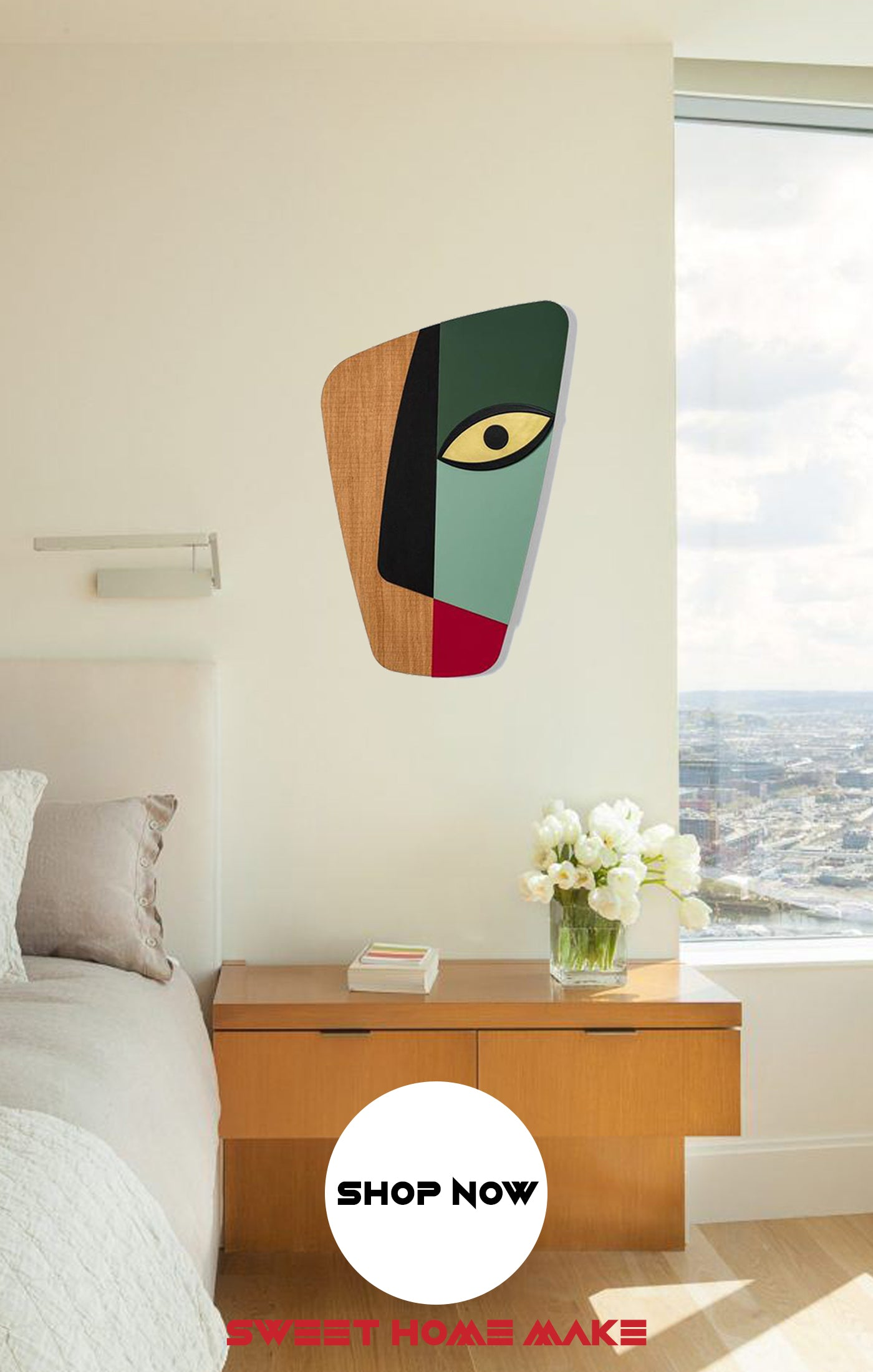 Colorful and Abstract Wall Art at the Bedroom Wall Decor