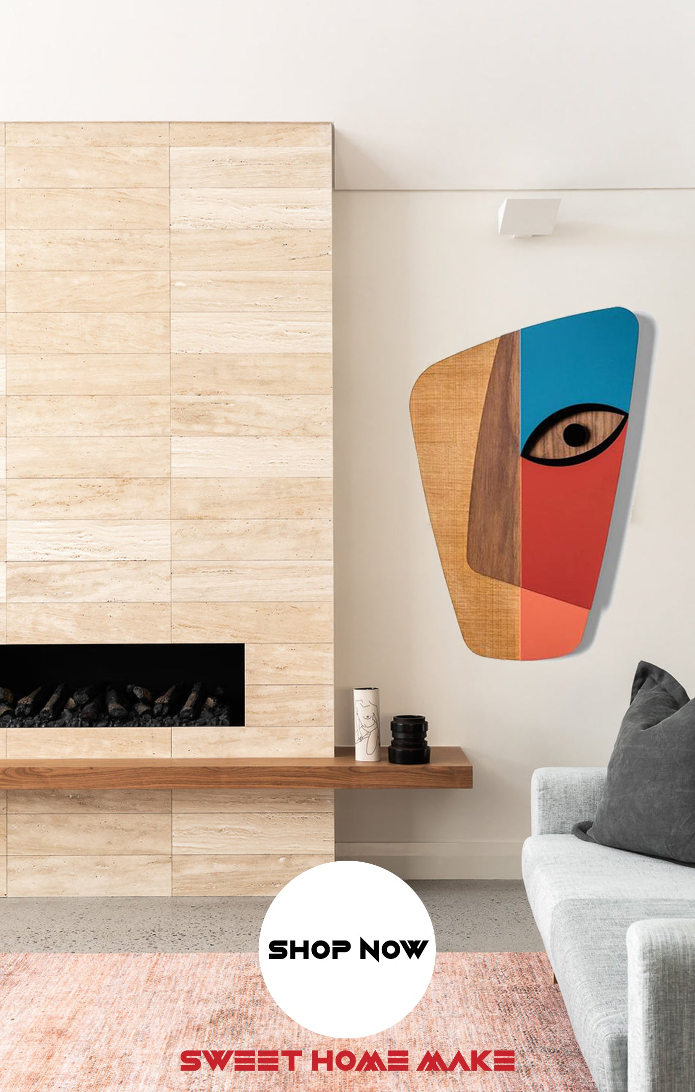 Colorful and Abstract Wood Wall Art at the Living Room Wall Decor