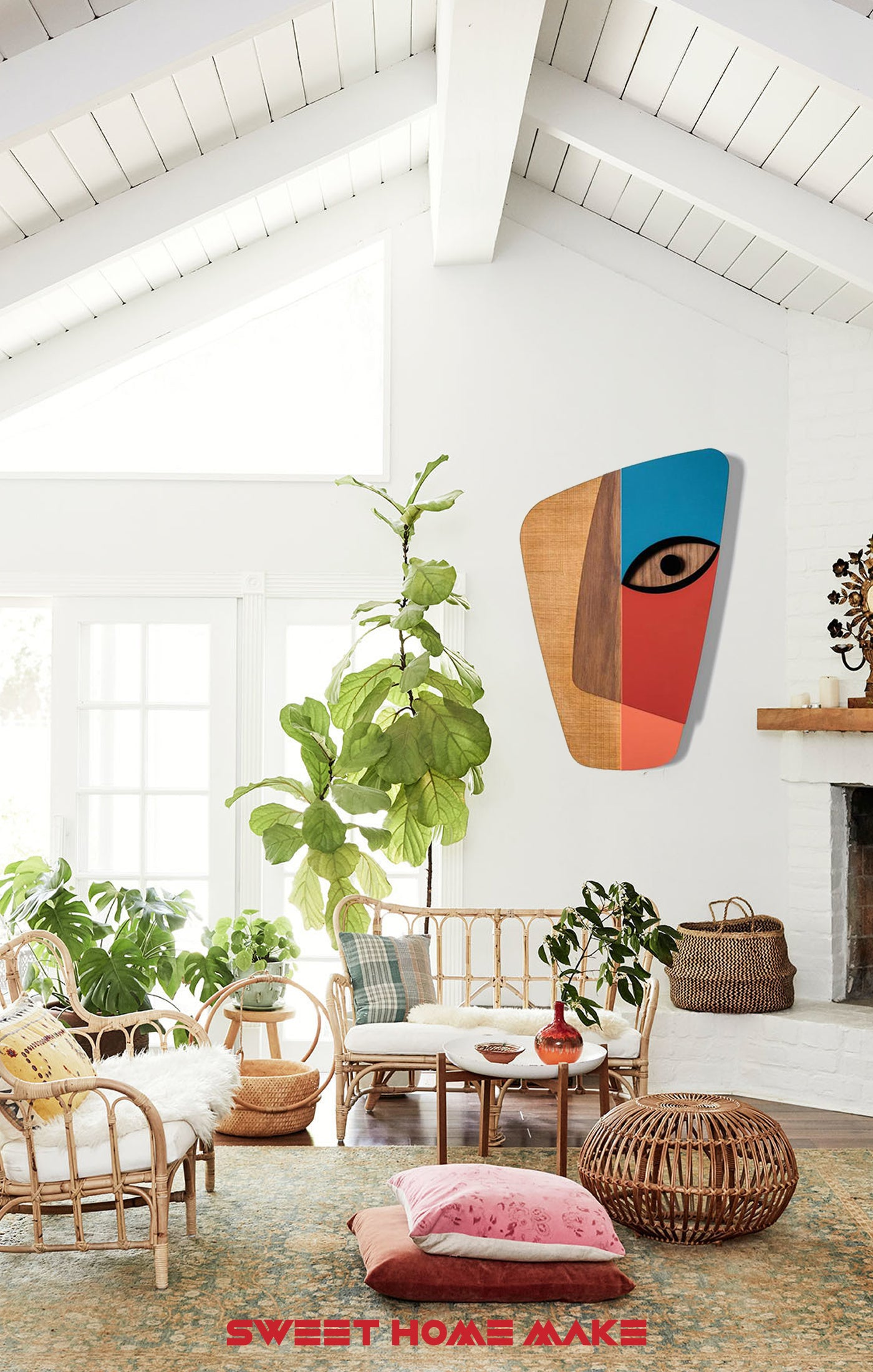 Colorful and Modern Wood Wall Art at the Boho Living Room Wall Decor