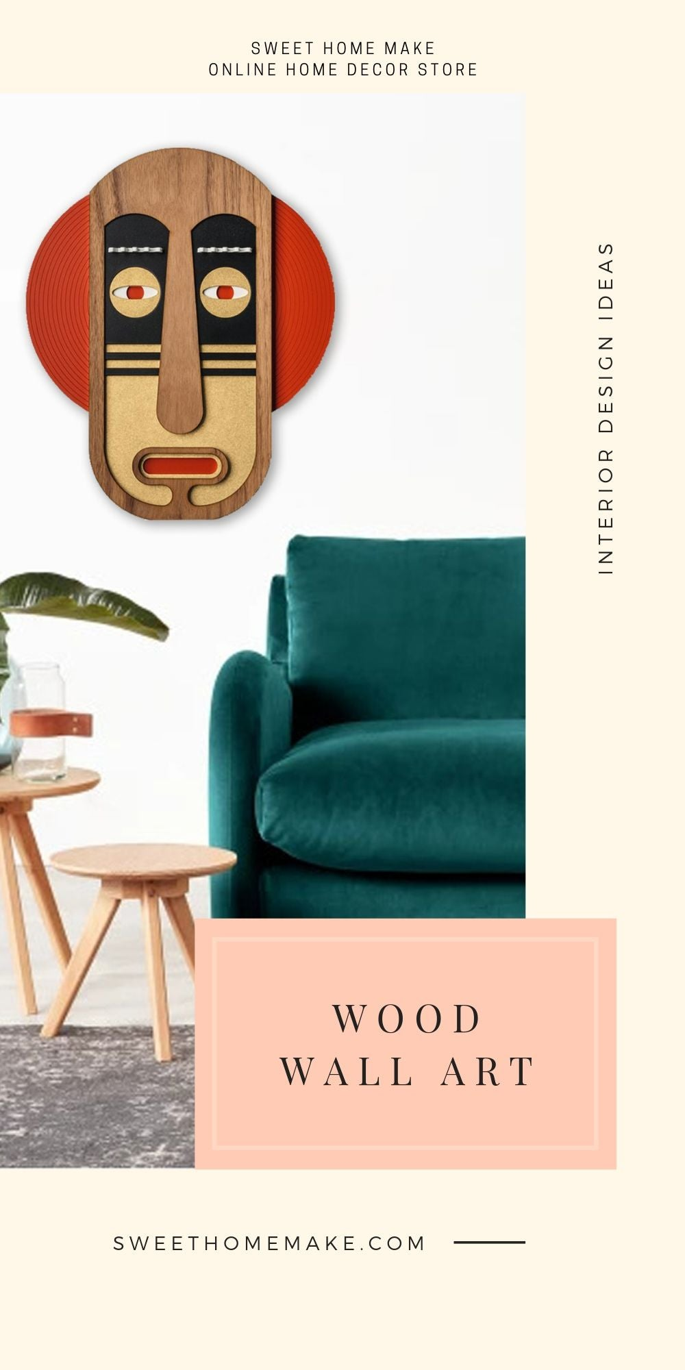 Cultural Face Wall Decor with Wood Wall Art