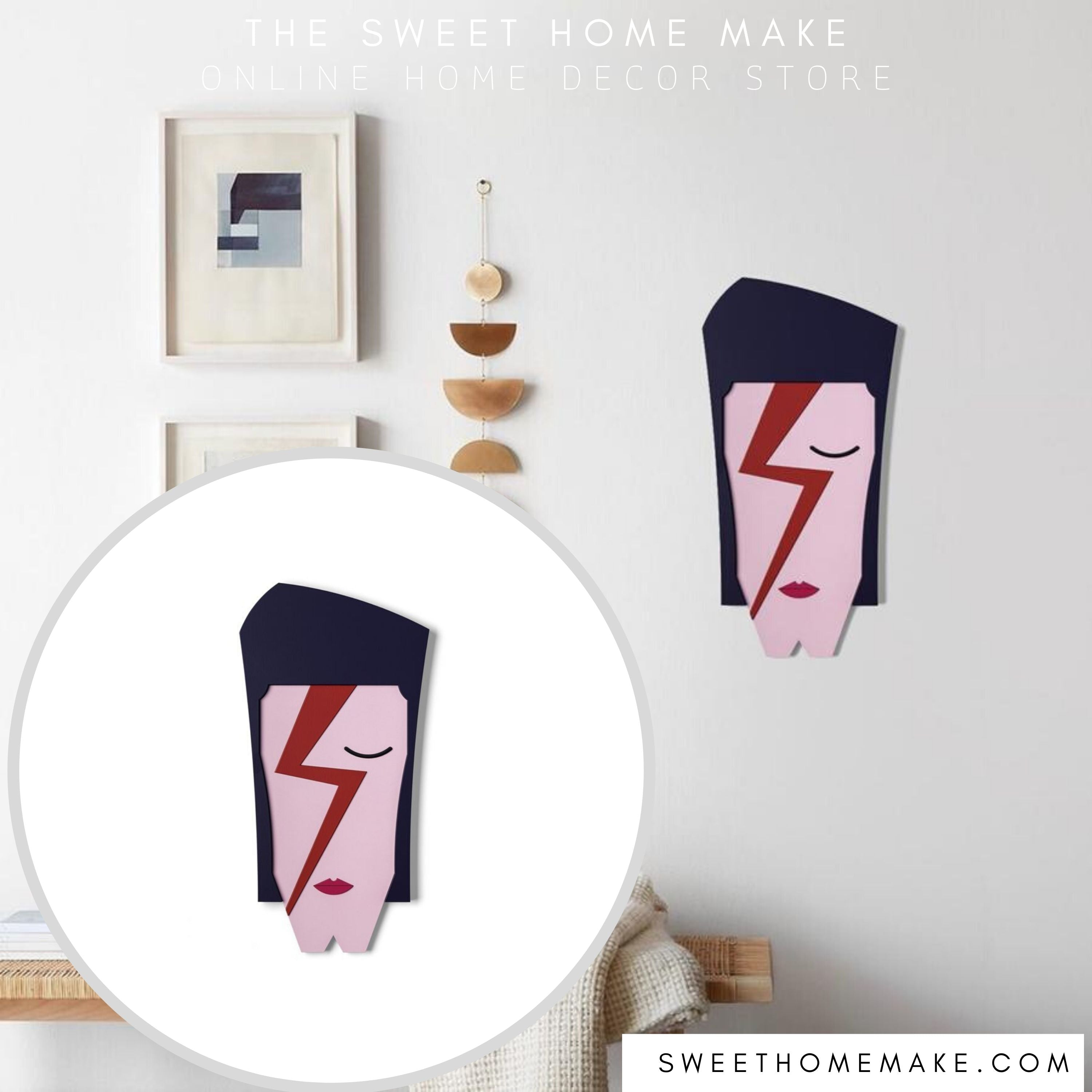 David Bowie Face Paint on the Wooden For Wall Art and Gifts