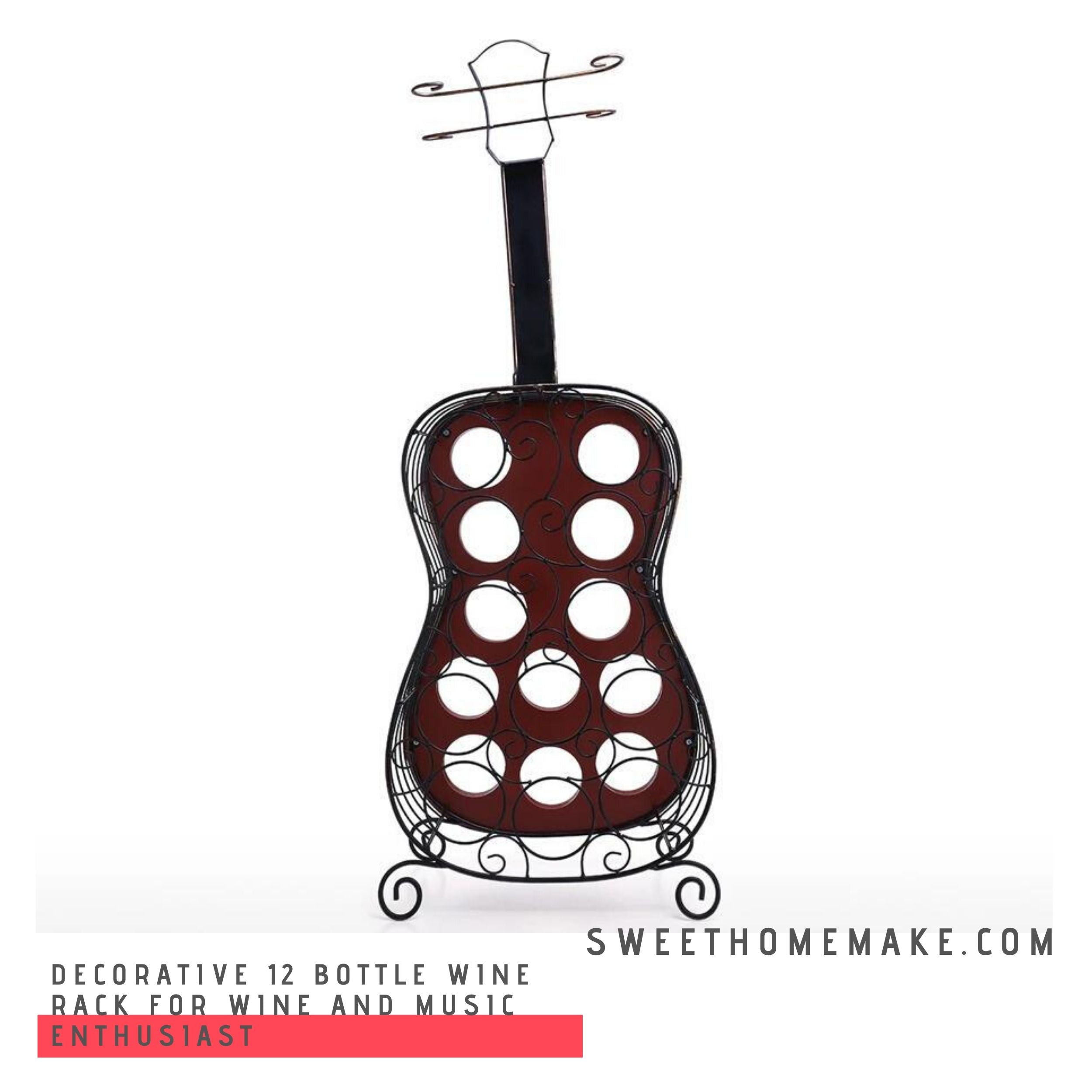Portable 12 Bottle Wine Rack for Wine and Music Enthusiast