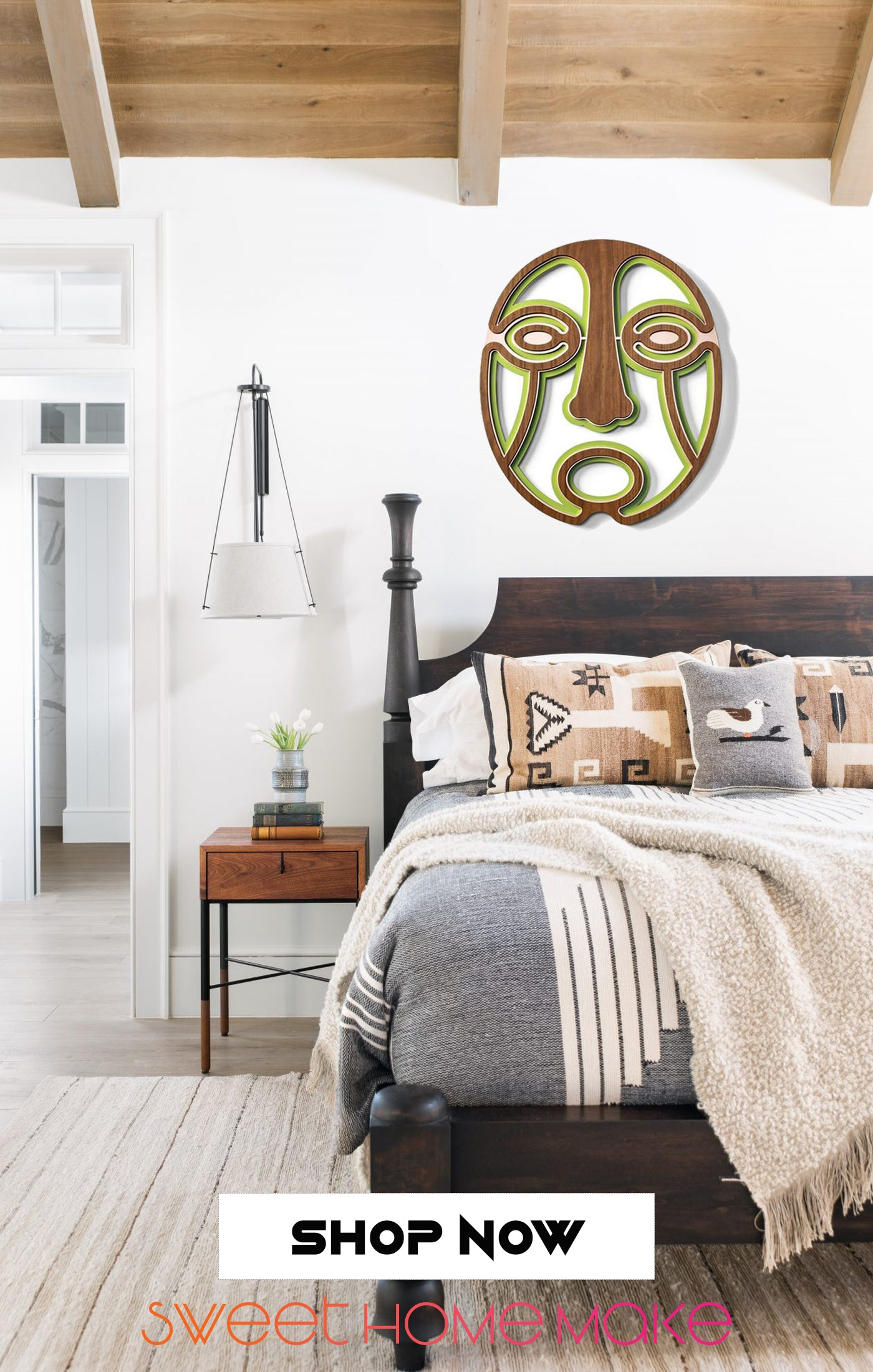 Decorative Mask Carved Wood Wall Art at the Bedroom Design