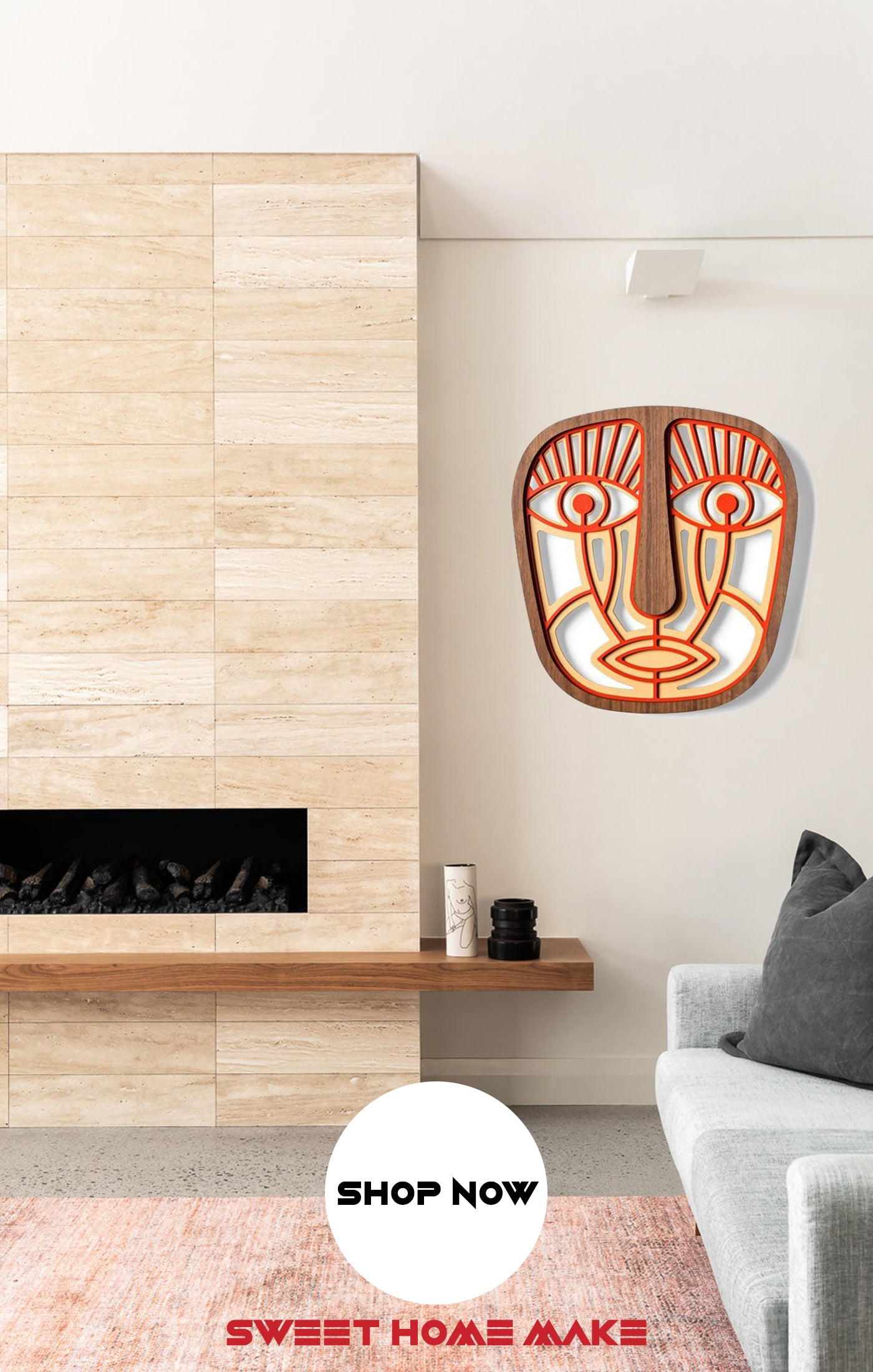 Decorative Wall Mask Wood Wall Art at the Living Room Wall Decor