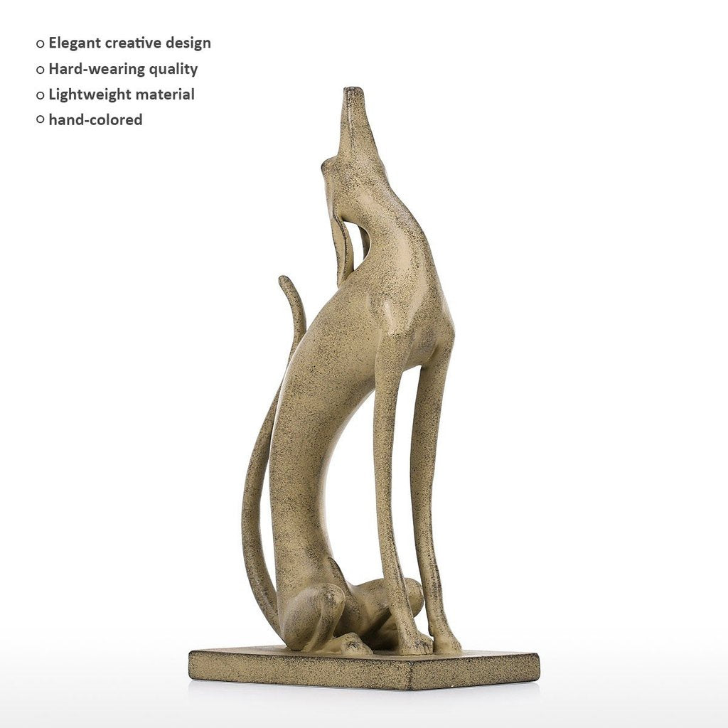 Dog Sculpture and Bronze Dog Sculpture with Dogs Howling and Metal Dog Art