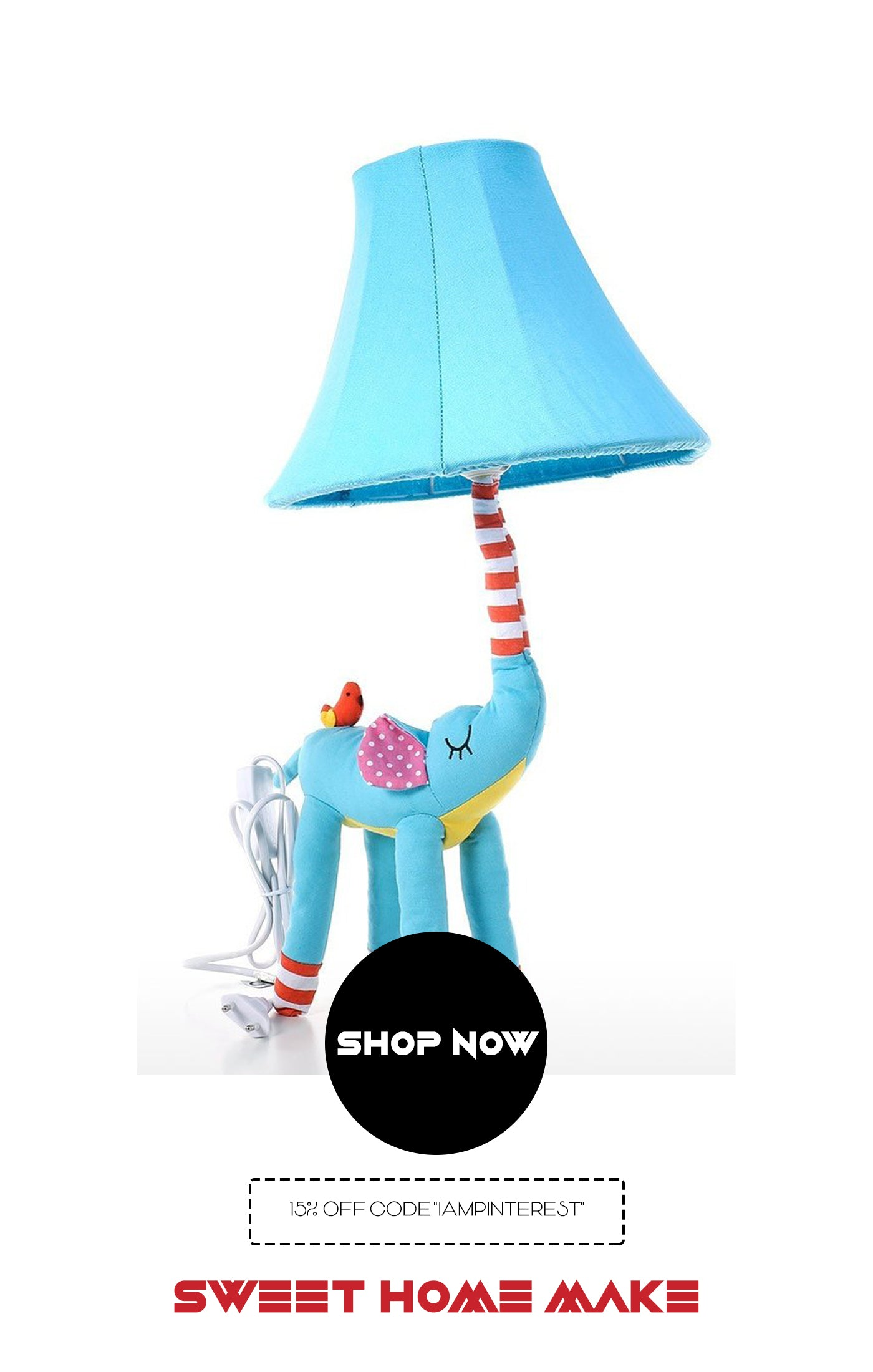 Elephant Decor with Blue Bedside Lamp