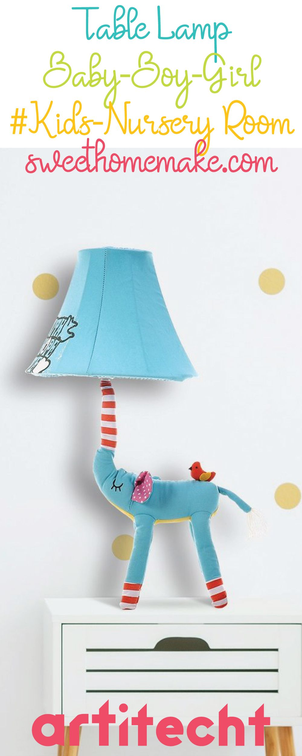 Elephant Home Decor with Elephant Toy and Elephant Table Lamp for Nursery Decor