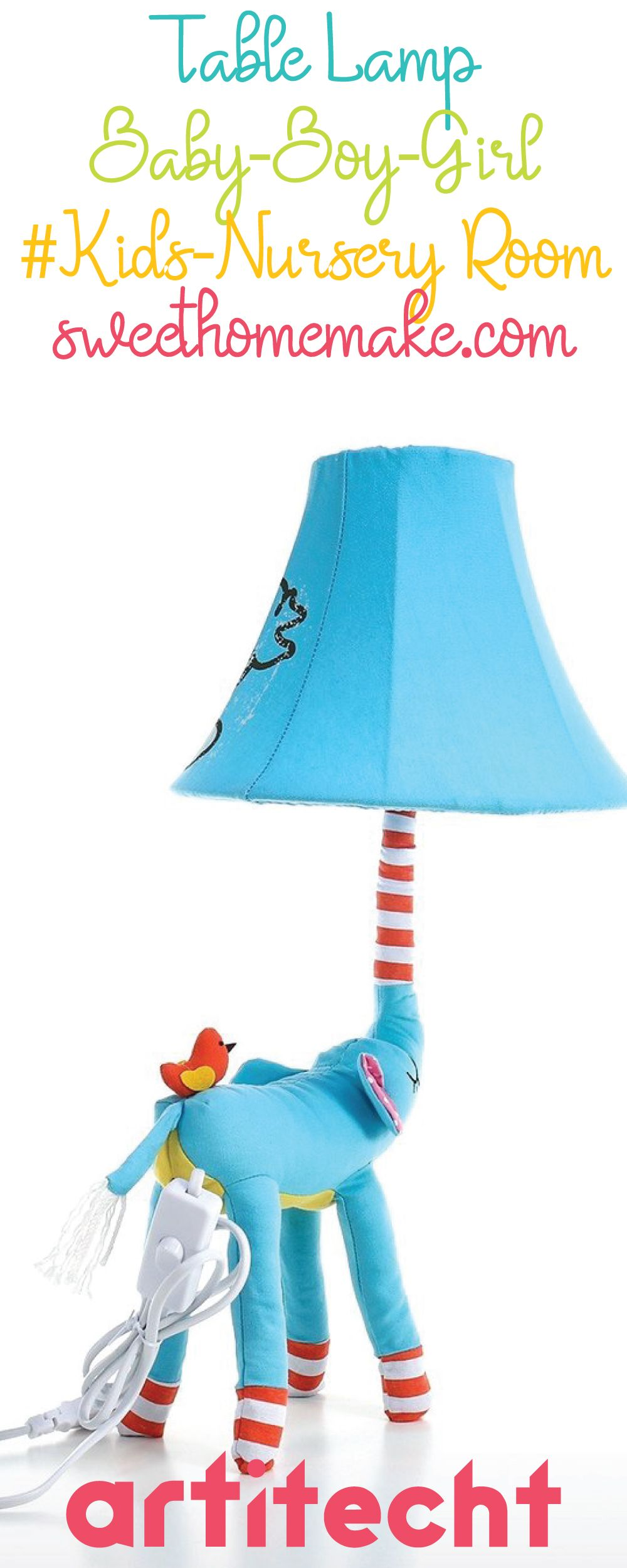 Elephant Table Lamp and Desk Lamp with Blue Toys for Elephant Baby Decor