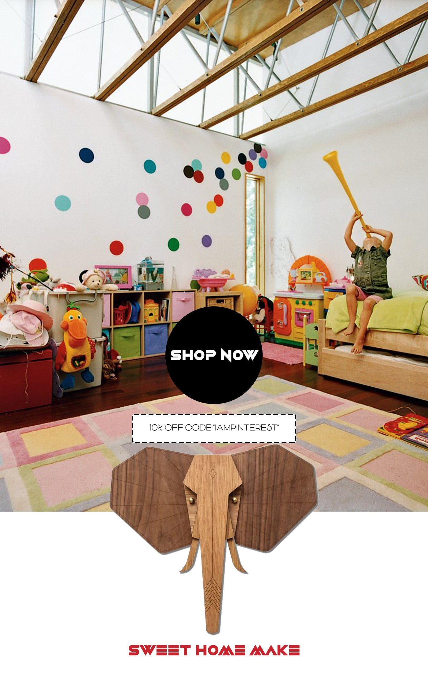 Elephant Wood Carving Wall Art for Nursery and Kids Room Decor