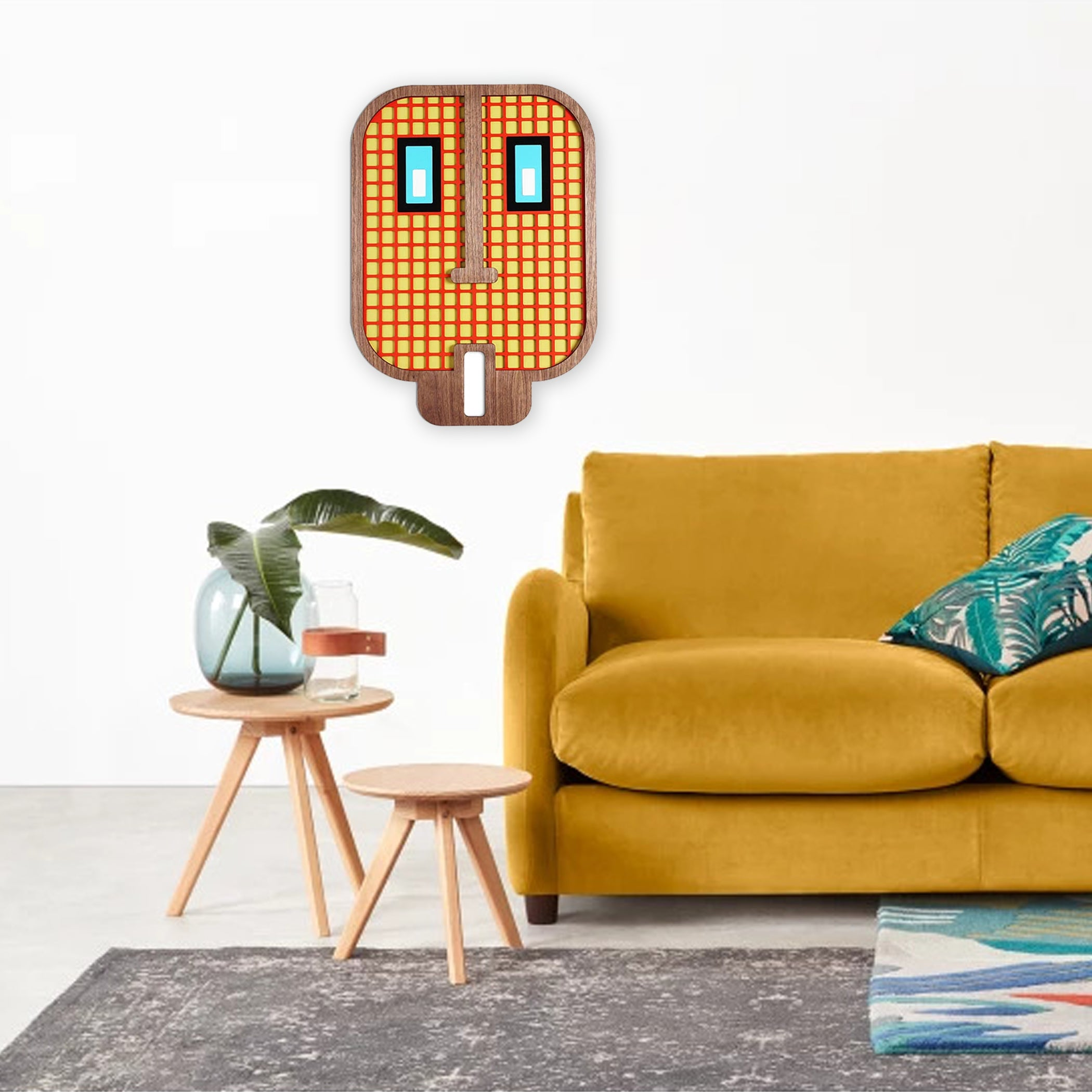 Emoji Decals with Wooden Wall Art
