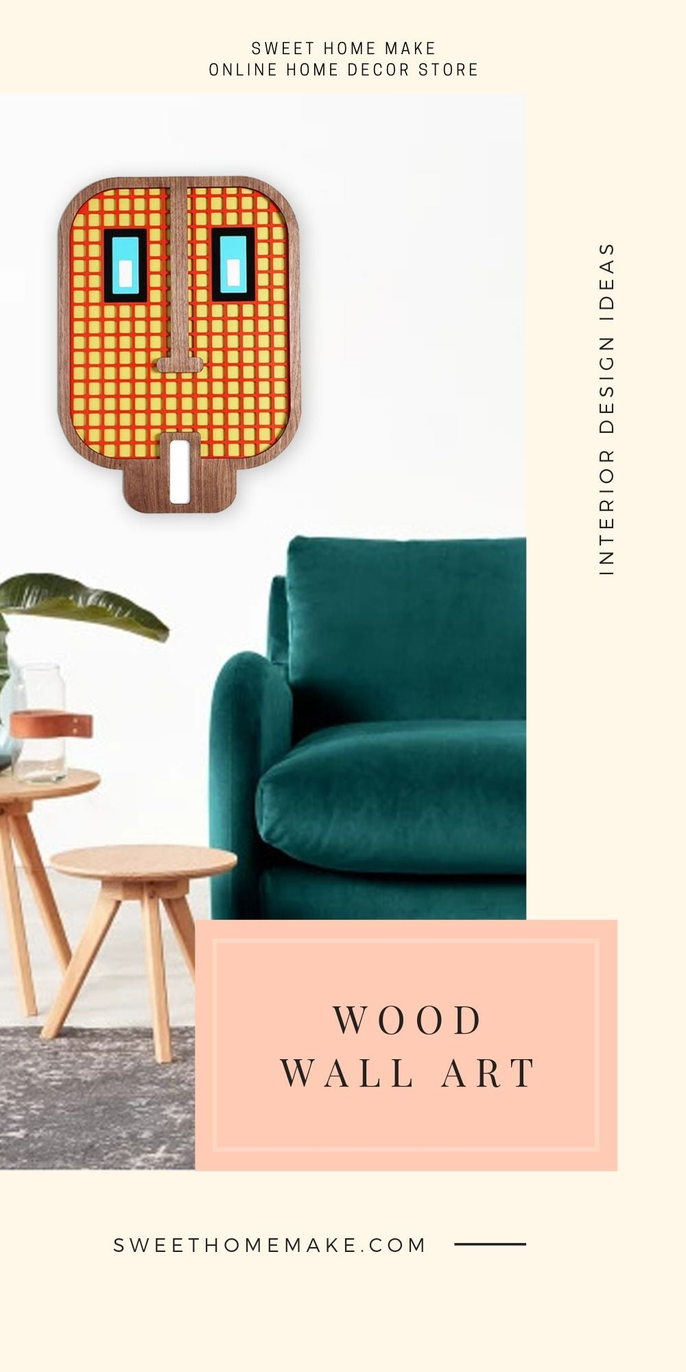 Emoji Wall Decor with Wood Wall Art