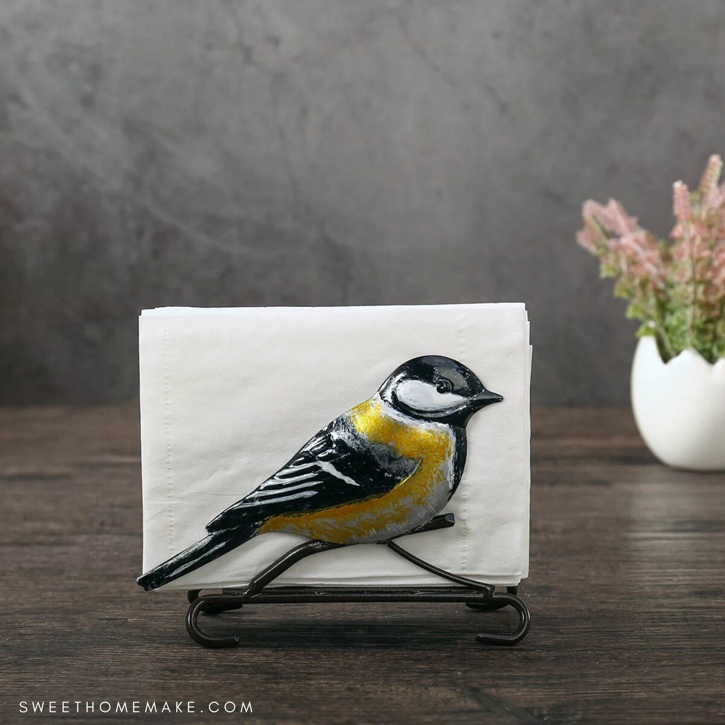 Farmhouse Napkin Holder with Flower and Bird Ornaments