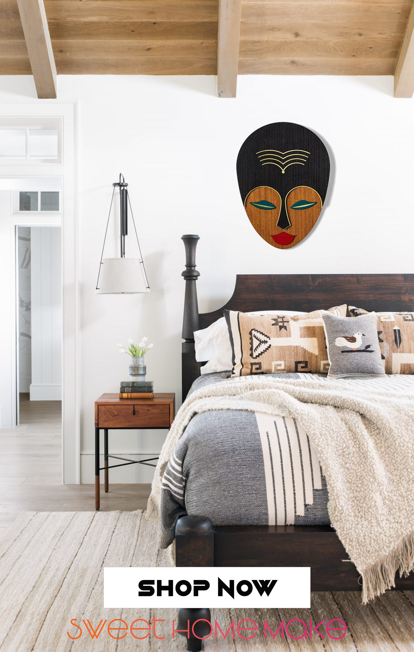 Female and Woman Face Carved Wood Wall Art at the Bedroom Design