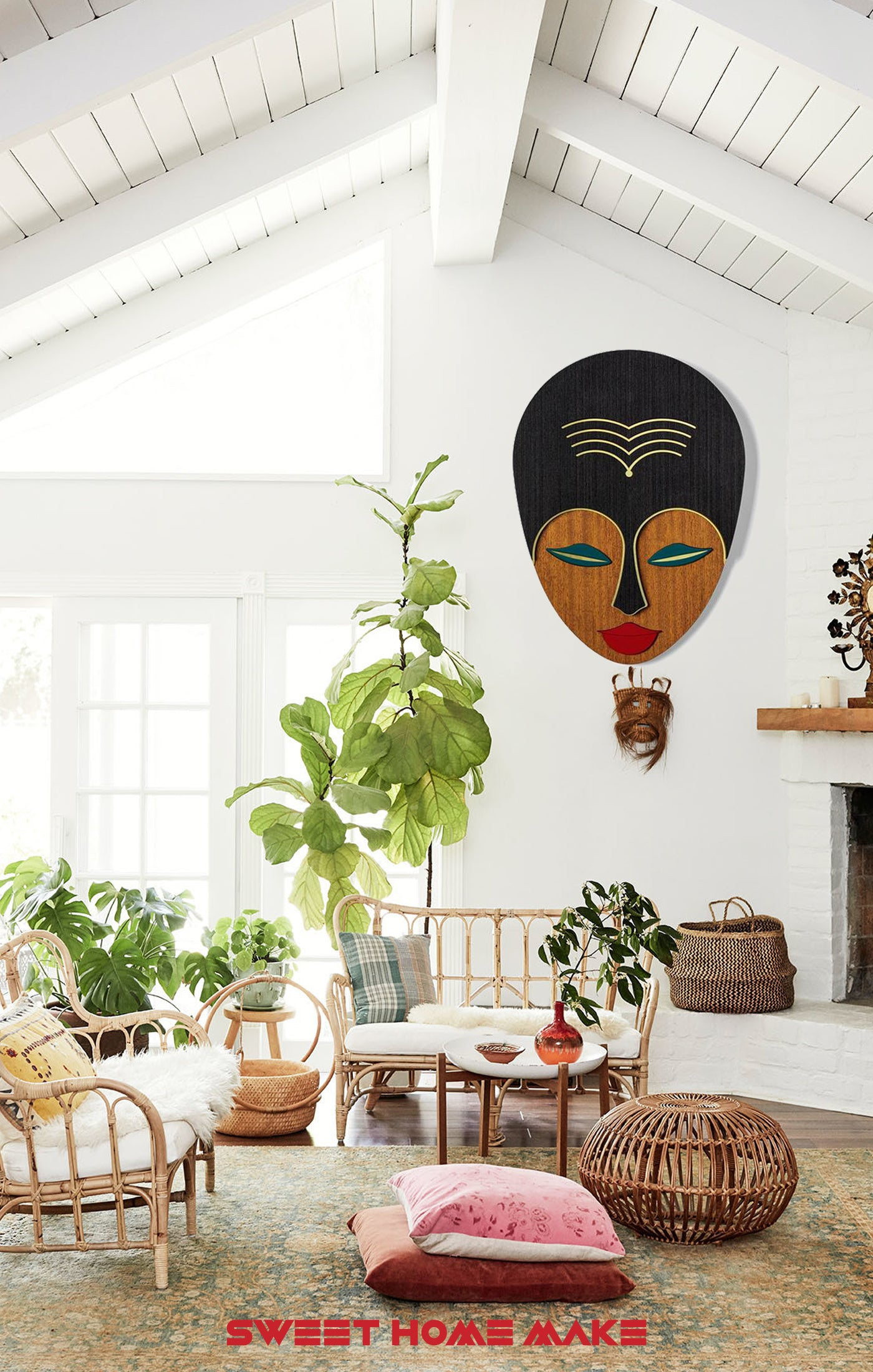 Female and Woman Face Wood Wall Art at the Boho Living Room Wall Decor