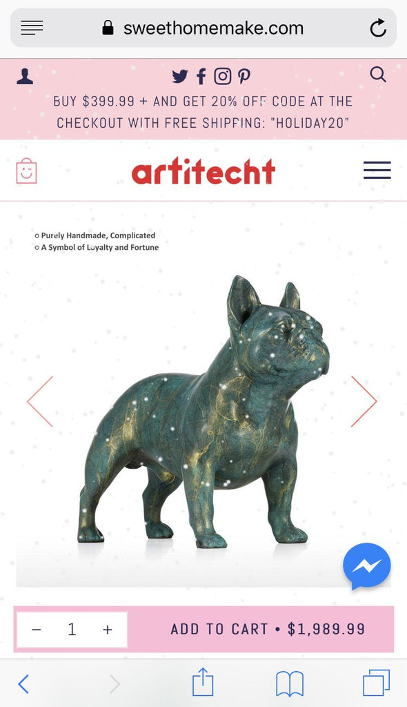 French Bulldog Decor with French Bulldog Statue Made by Bronze