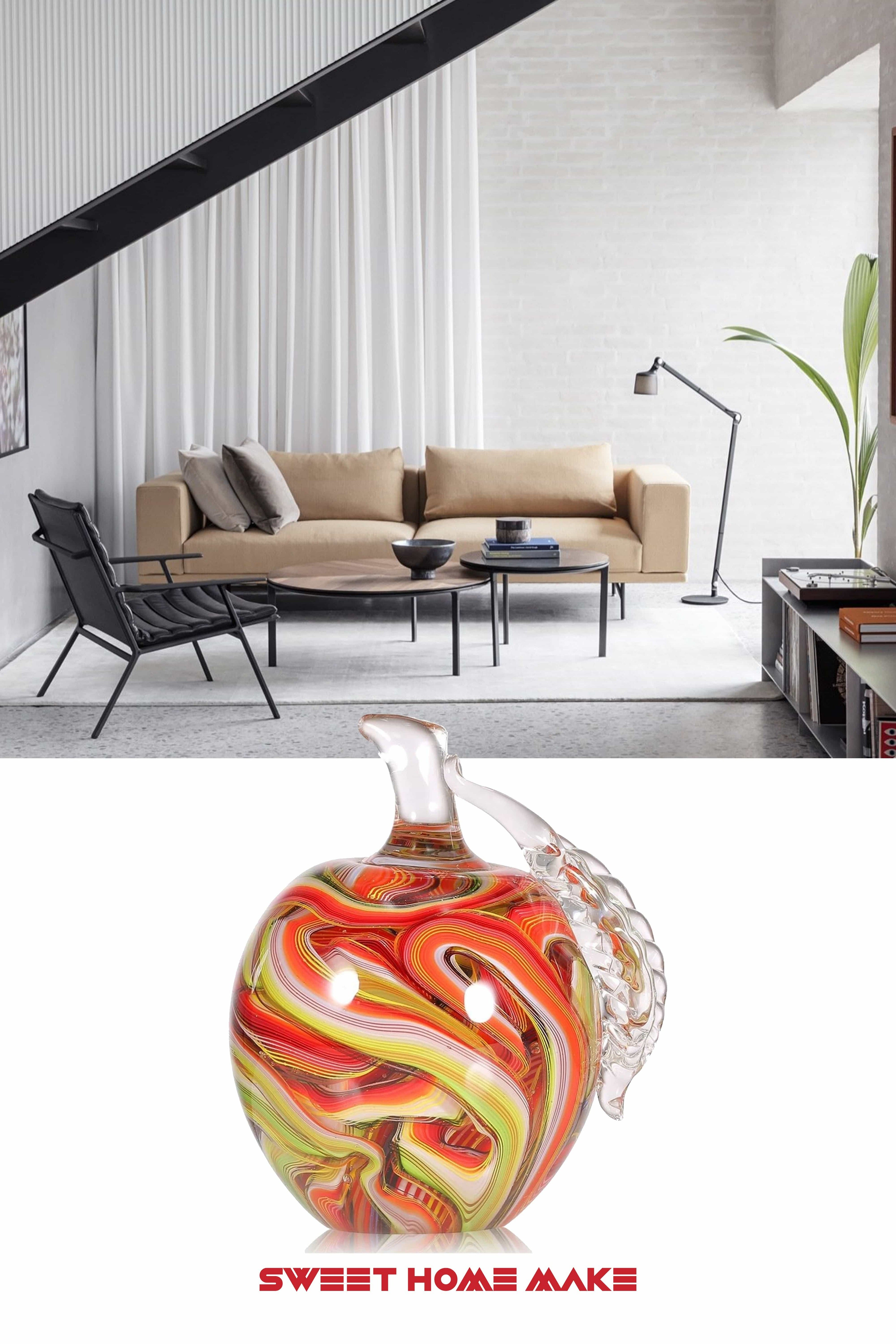 Glass Apple Figurine Ornament At The Living Room Coffee Table