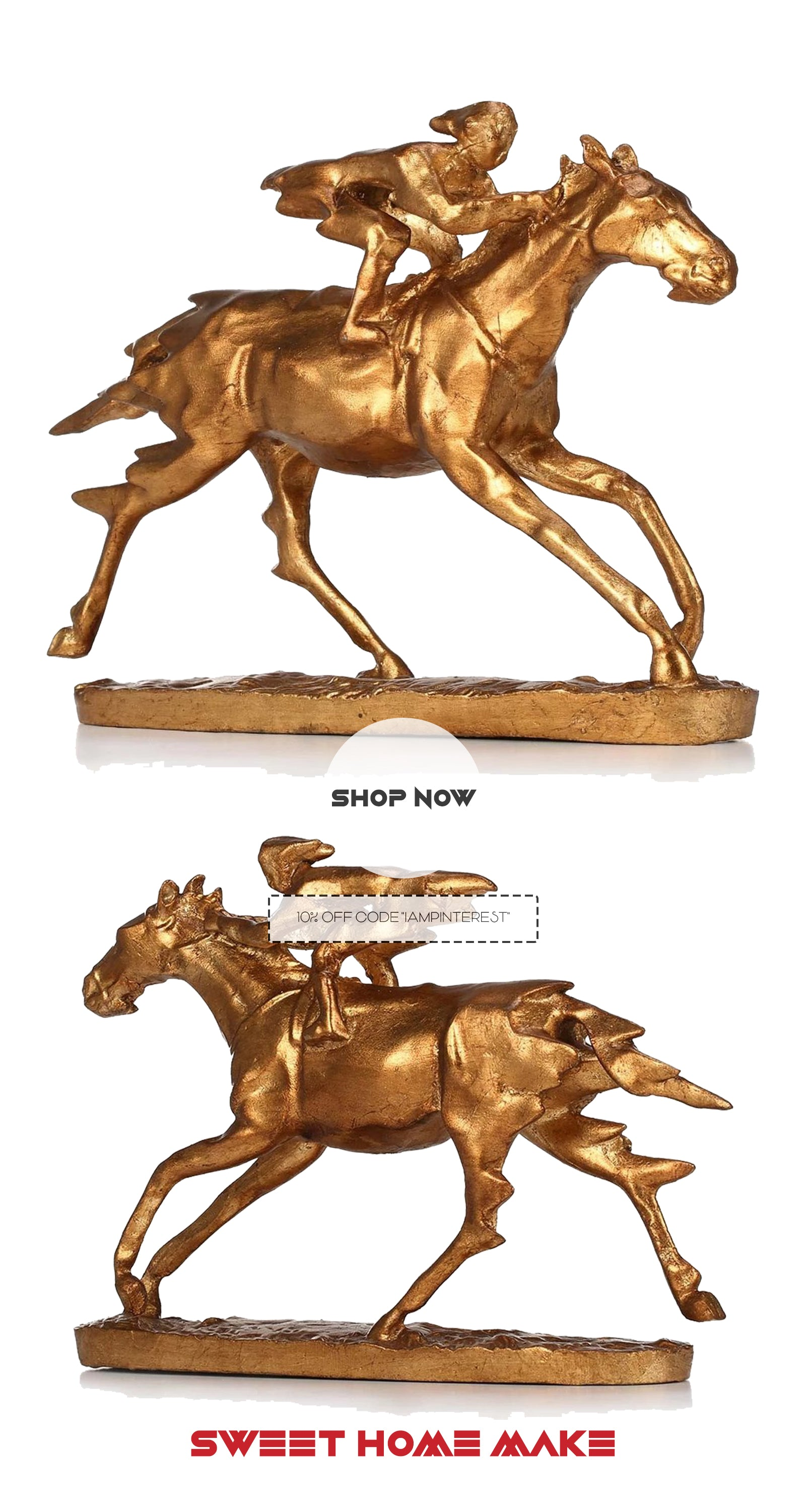 Gold Small Horse Statue with Horse Riding For Horse Decor