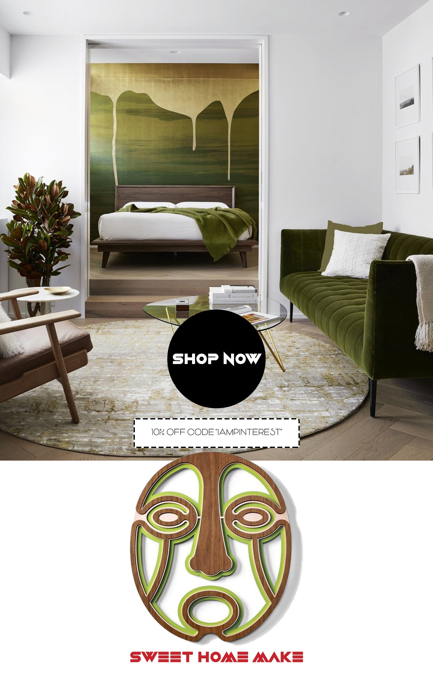 Green Abstract and Modern Wall Art with Woodworking for Bedroom Wall Decor
