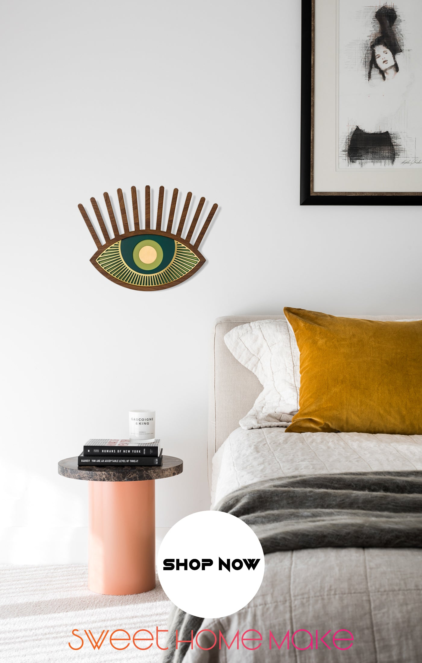 Green Eye with Wood Eye Wall Art at the Bedroom Wall Decor