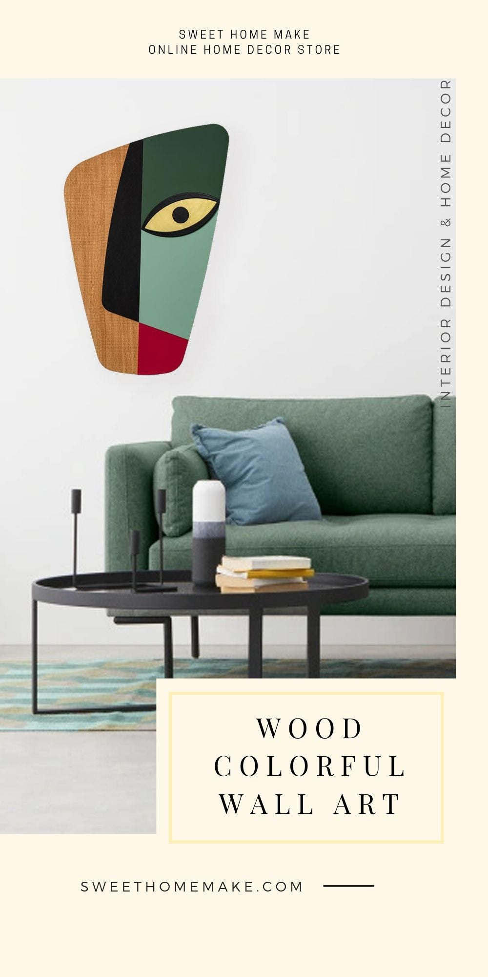 Green Wall Decor with Wood Wall Art