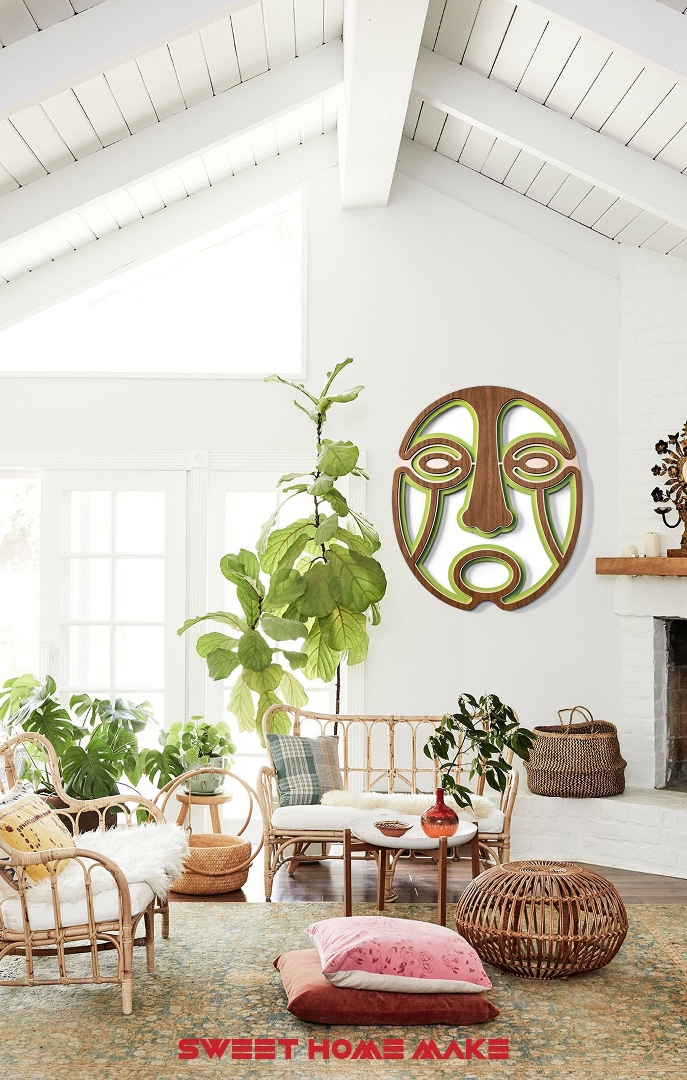 Green Wood Wall Art at the Boho Living Room Wall Decor