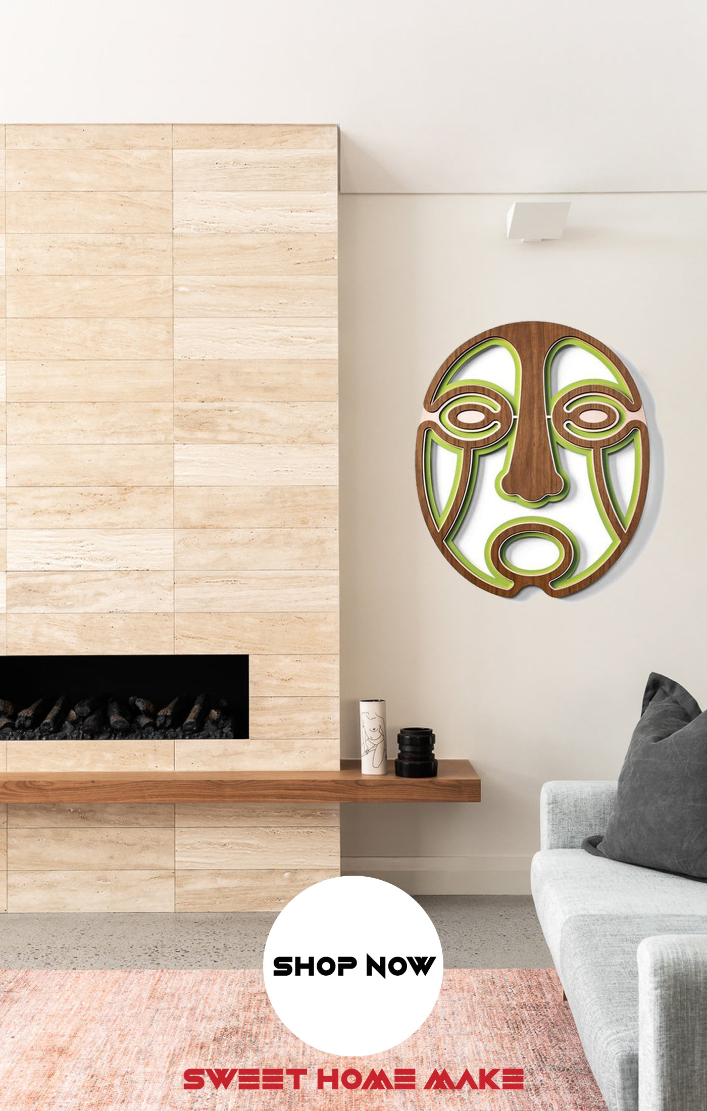 Green Wood Wall Art at the Living Room Wall Decor