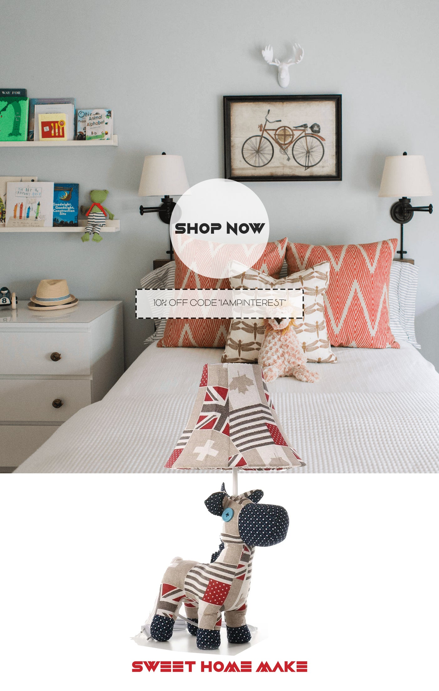Horse For Kids Decor with Table Lamp and Toy