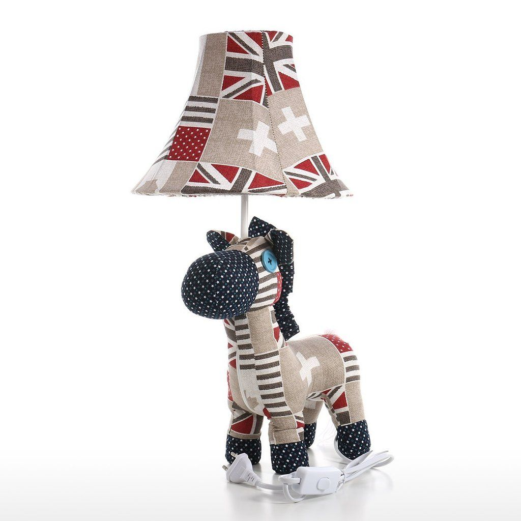 Horse Toys with Fabric Patchwork Colorful Details for Table Lamp and Nursery Decor