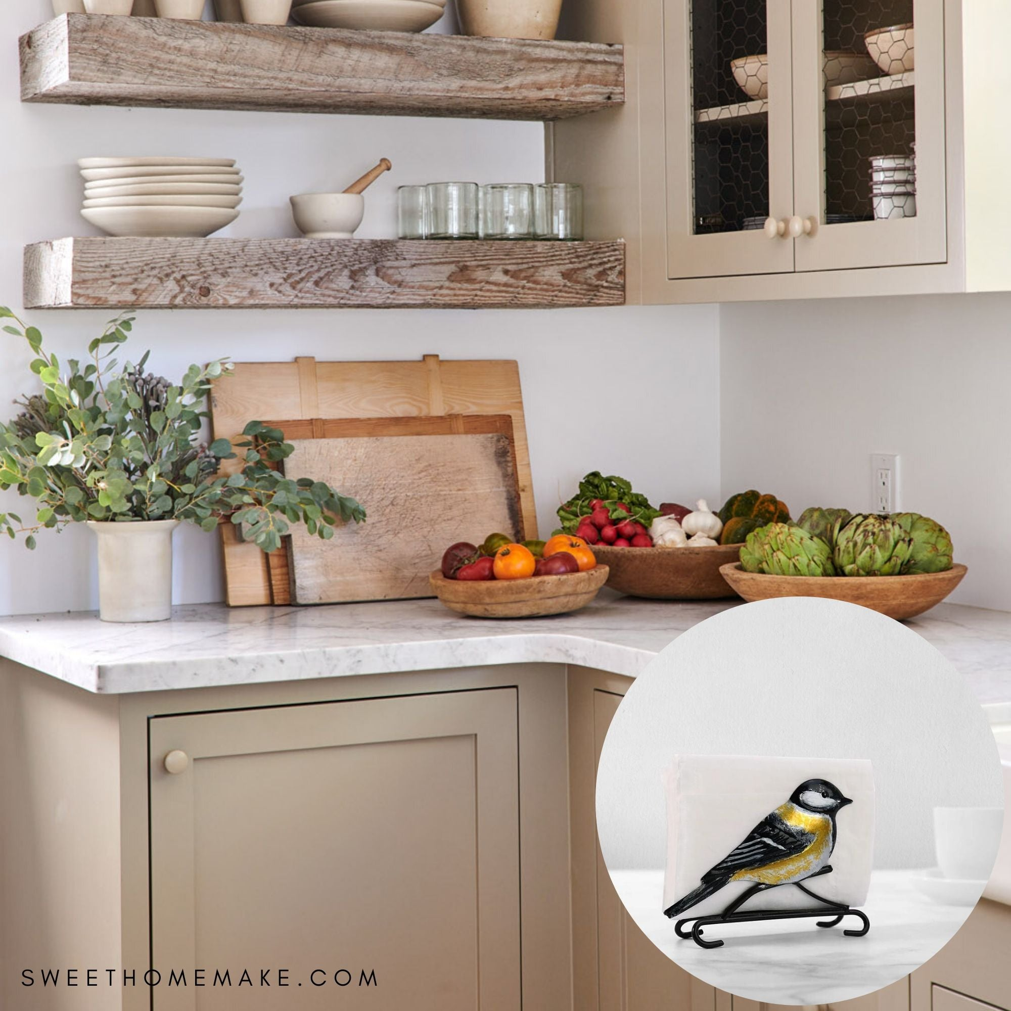 Kitchen Napkin Holder With Goldfinch And Daisy Flower Decor The Sweet Home Make