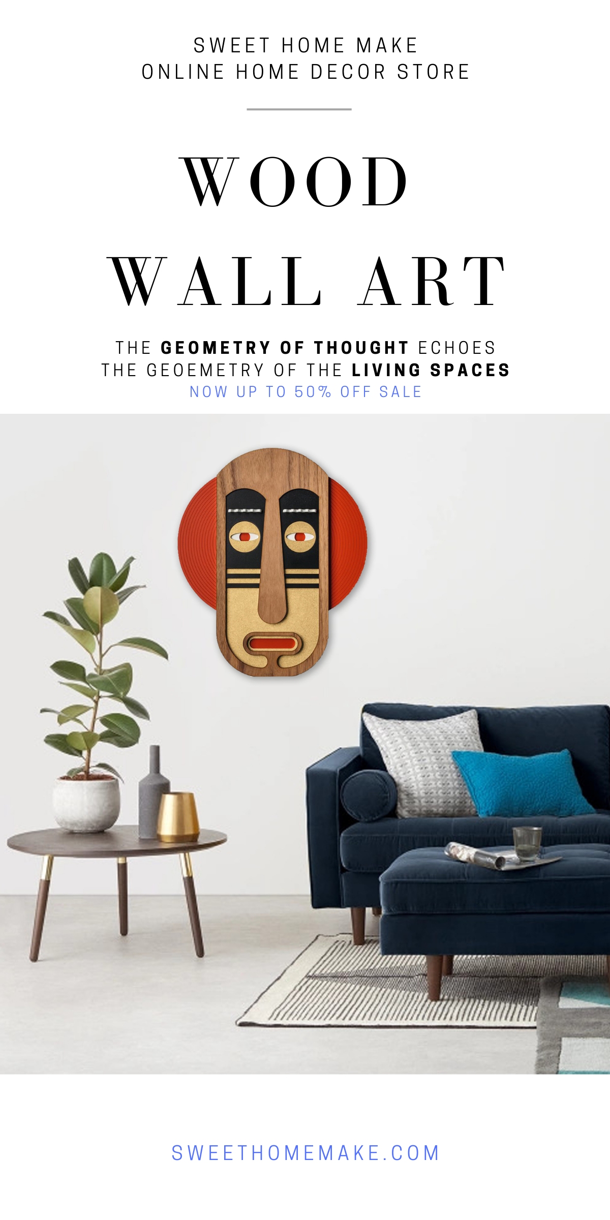 Living Room Wall Decor with African Wall Mask