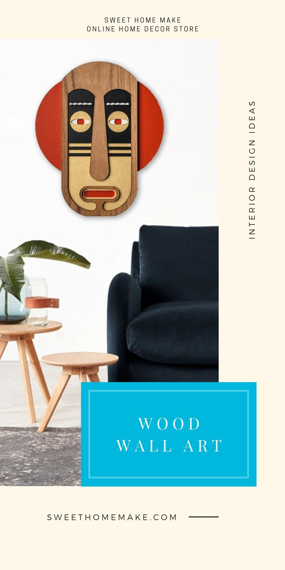 Living Room Wall Decor with Wood Cultural Face Wall Art