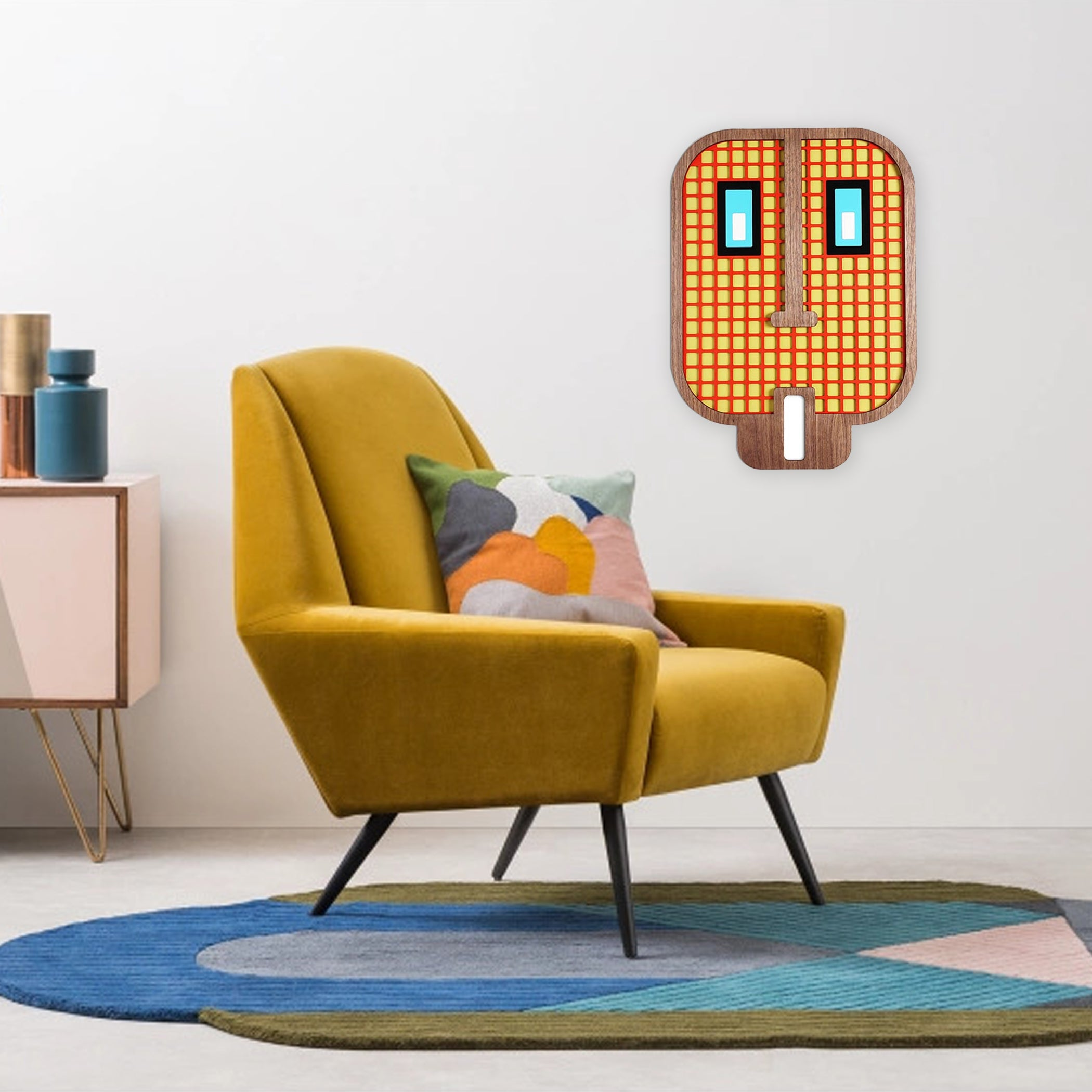 Living Room Wall Decor with Wood Emoji Decals