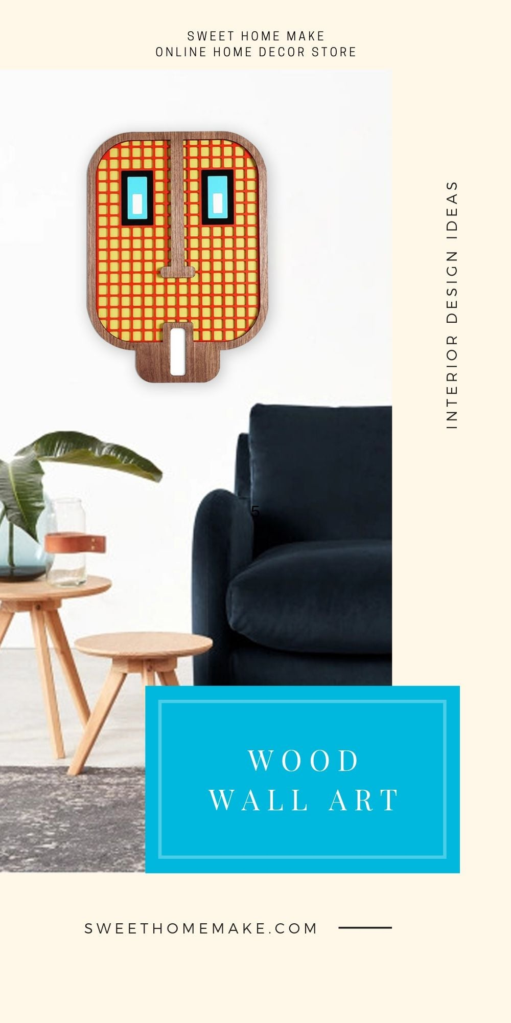 Living Room Wall Decor with Wood Yellow Emoji Wall Art