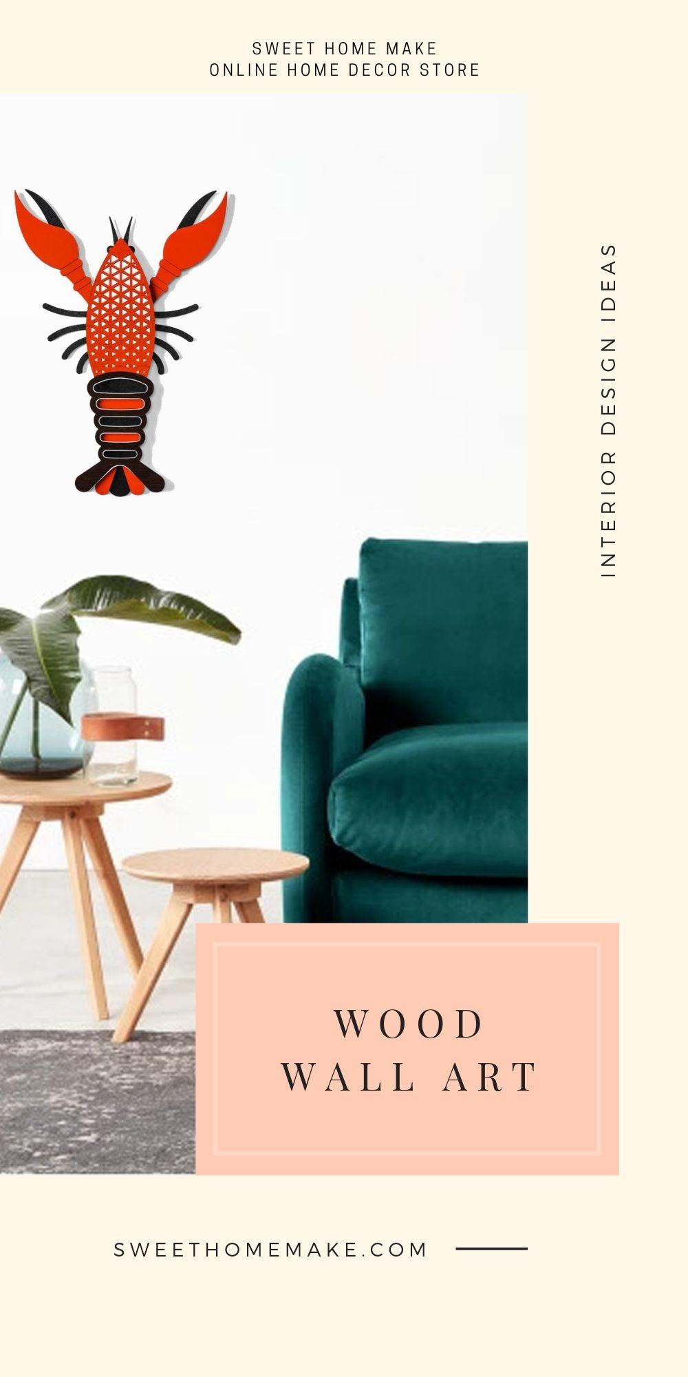 Lobster Wall Decor with Wood Wall Art