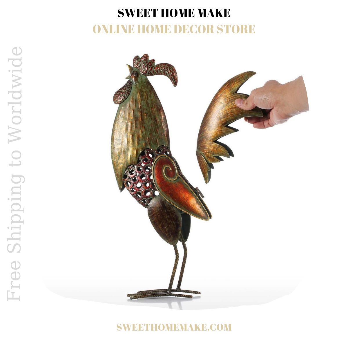 Metal Rooster Statue For Kitchen and Home Decor
