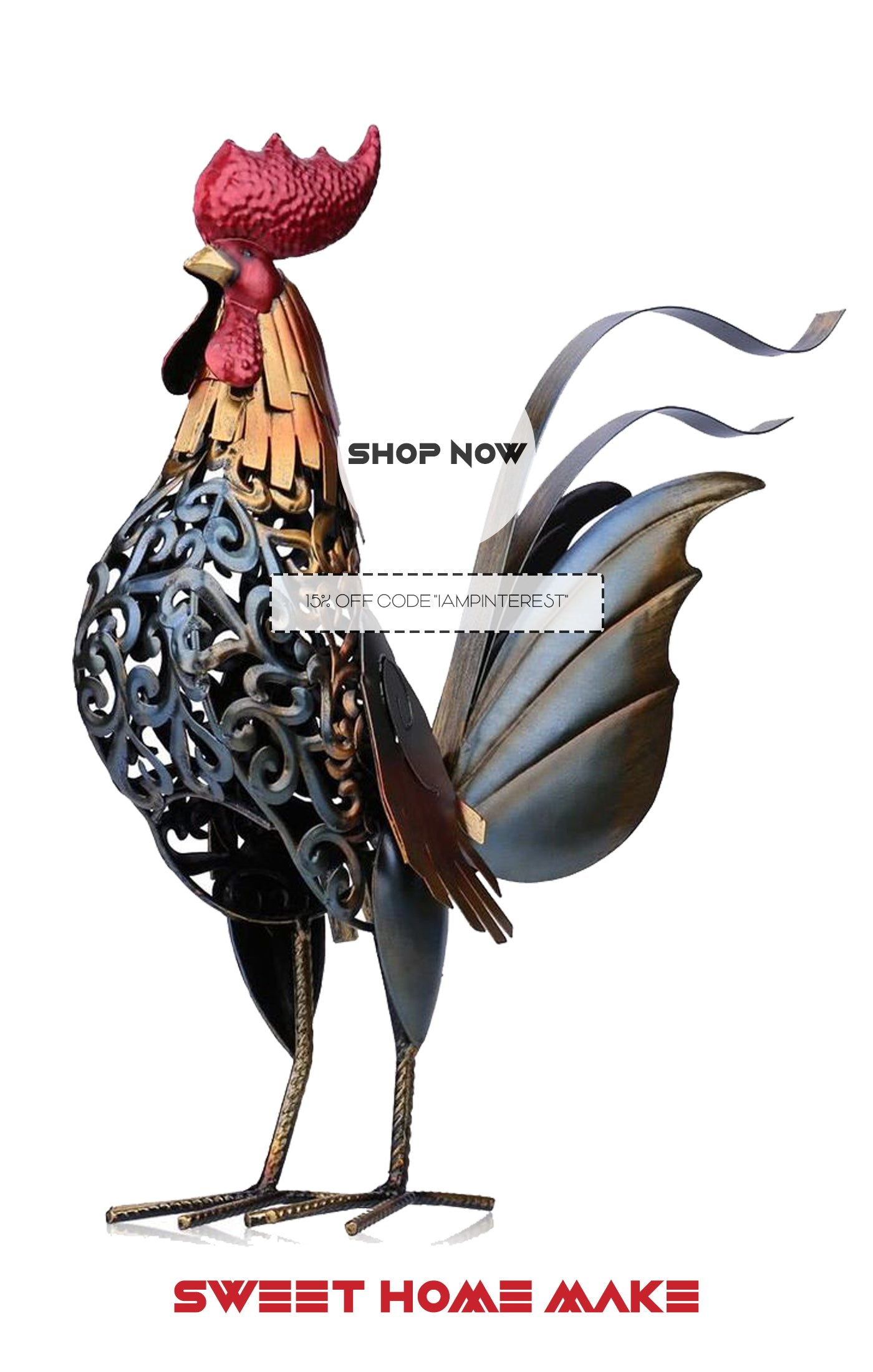 Metal Rooster Statue as Home Decor Store