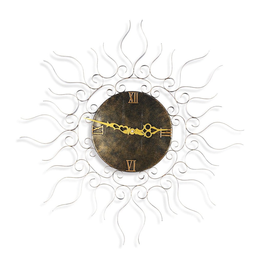 Sun Wall Clock with Metal Wall Clock or Vintage Wall Clock